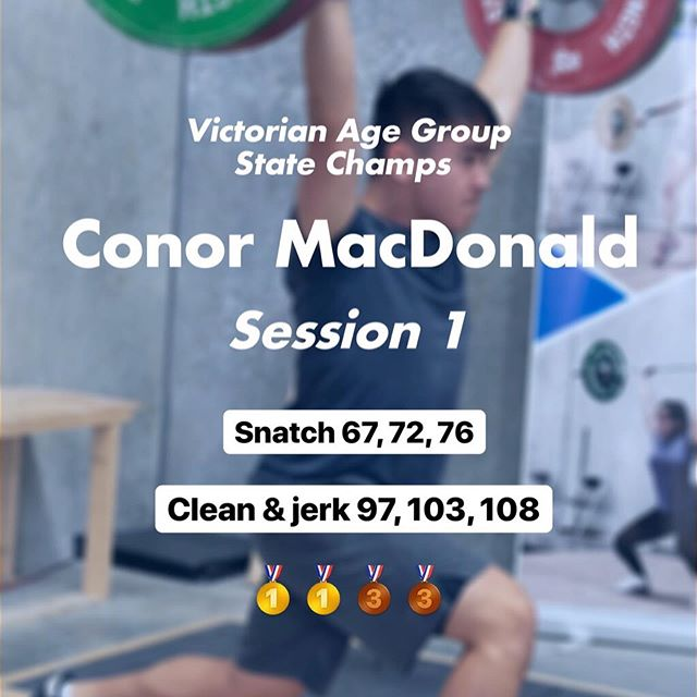 I could not be prouder of how #teamchaos competed yesterday. . As a team we attempted 30 lifts, 27 were made, 3 missed, 7 Prs, 8 medals, 2 National Records and 2 best over all lifters trophies. This was an extremely strong performance and we are only going to build on it for the next one. . @conormac.04 76/108 = 184 (National under 15 Record clean & jerk and equal the total record) @mac.helena 41/54 = 95 @yind.eh 48/60 = 108 @omarrebaid 76/105 = 181 @moolooney 75/92 = 167 . Onwards and upwards. . #controlledchaos #chaosathlete #teamchaos #comp #olympicweightlifting #weightlifting #training #pr #pb #lifting #heavy #snatch #clean #jerk #squat #squats #strong #strength #fun #team #gym #coburg #melbourne #gym #train #power #competition