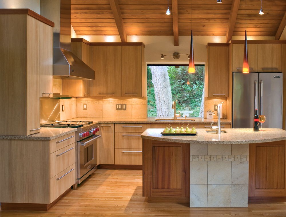 MARSHALL DOBRY, KITCHEN DESIGN STUDIO: SQUARELINE in SUMATRA TEAK - 1900 in AFRICAN MAHOGANy with NATURAL Stain