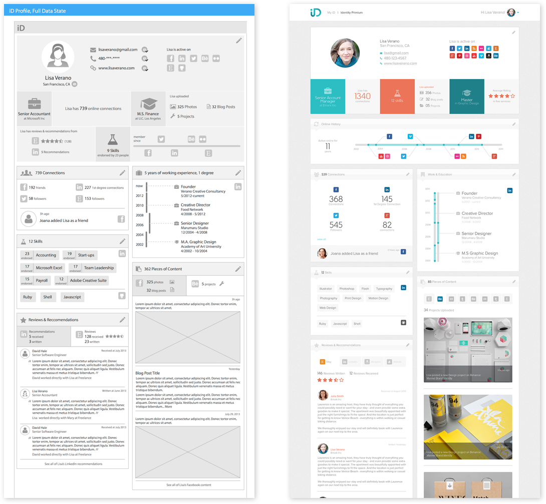 Wireframe and visual mock of the iD profile for trust building.