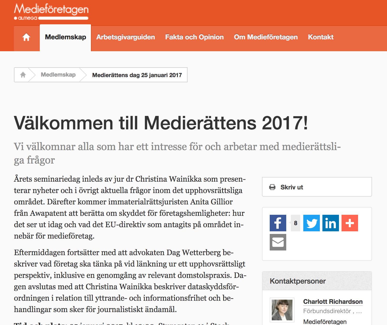 Medierättens Dag 2017