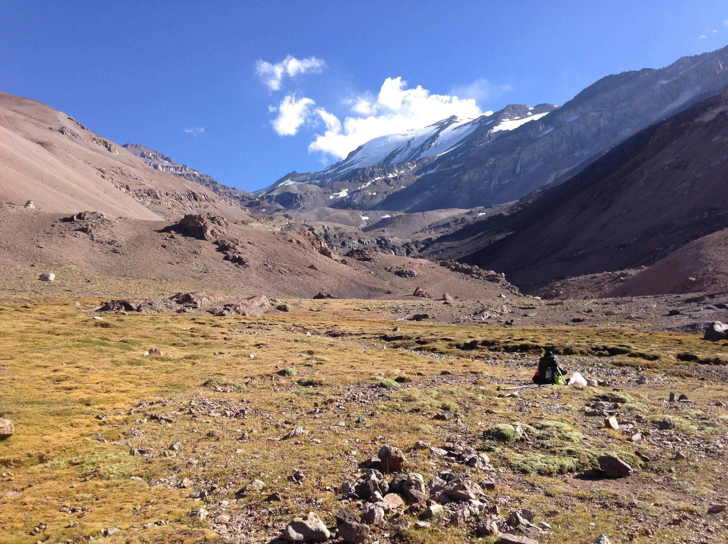 The view of Cerro El Plomo (5443m) and her glaciated face, photo taken from Piedra numerada