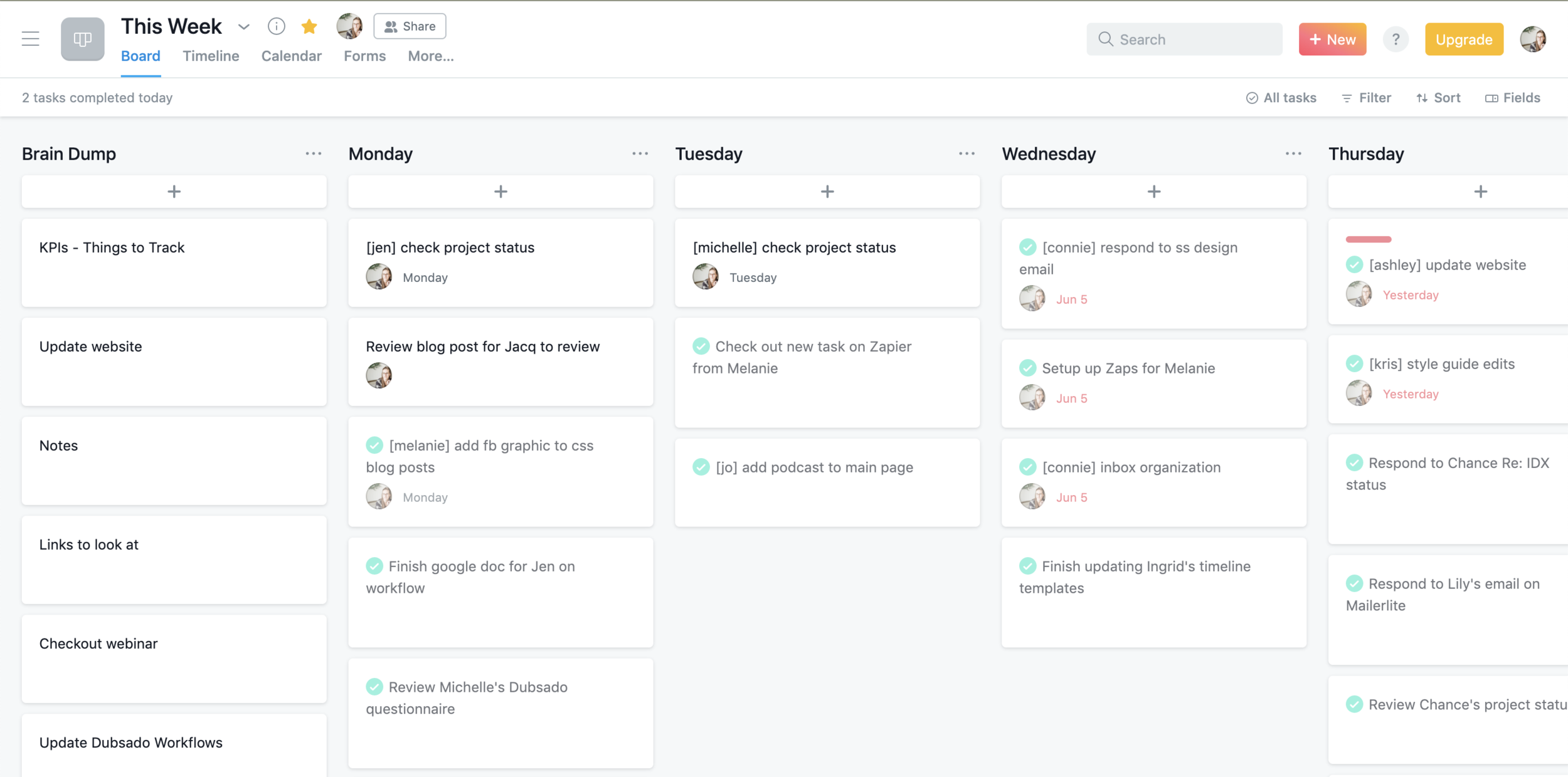 How to use a This Week board in Asana to help you get things done | Liz Strong of Lux + Vita