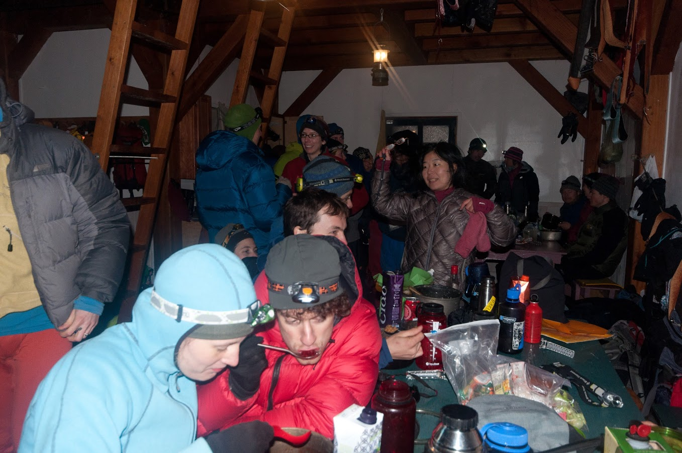 How to keep an unheated hut warm: pile 30 or 40 people into it.