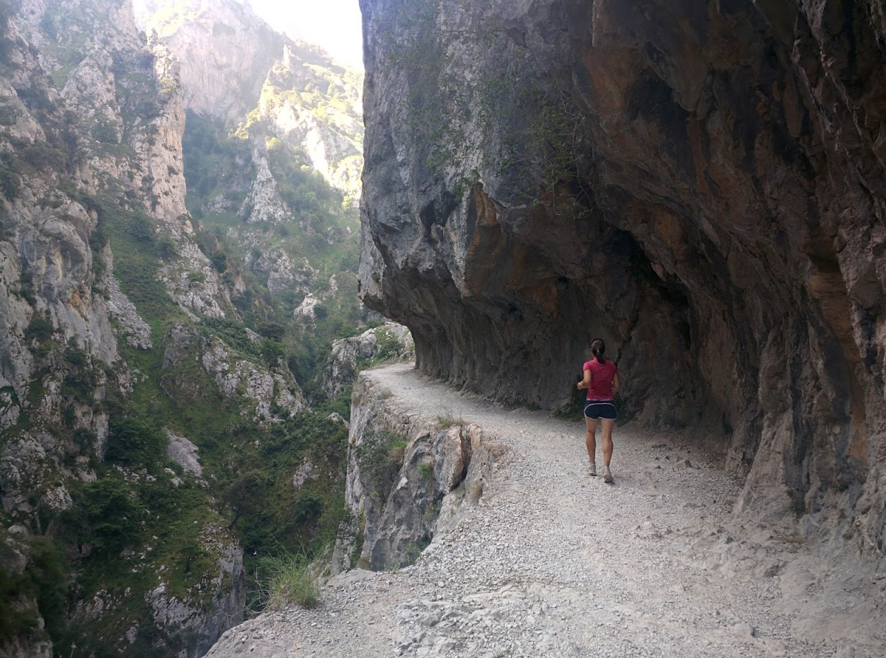 The path is literally carved out of a vertical rock face.