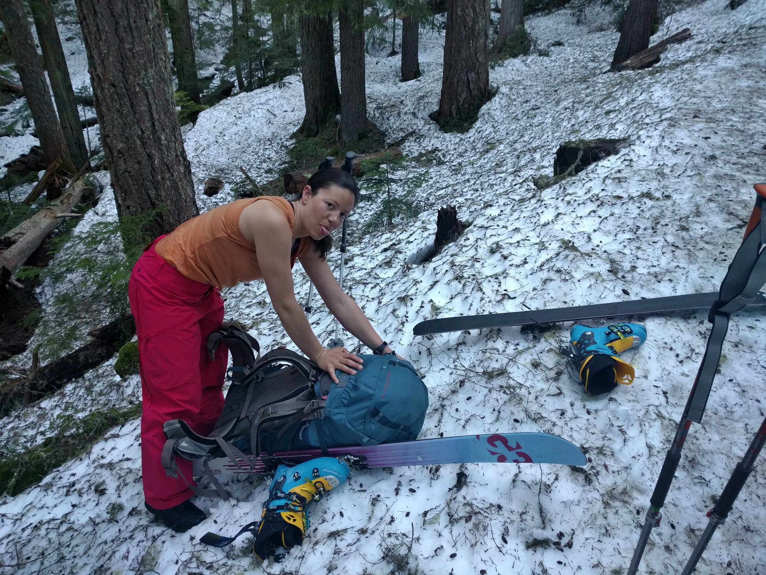 Christine, happy to finally be able to put her skis on in that virgin snow...