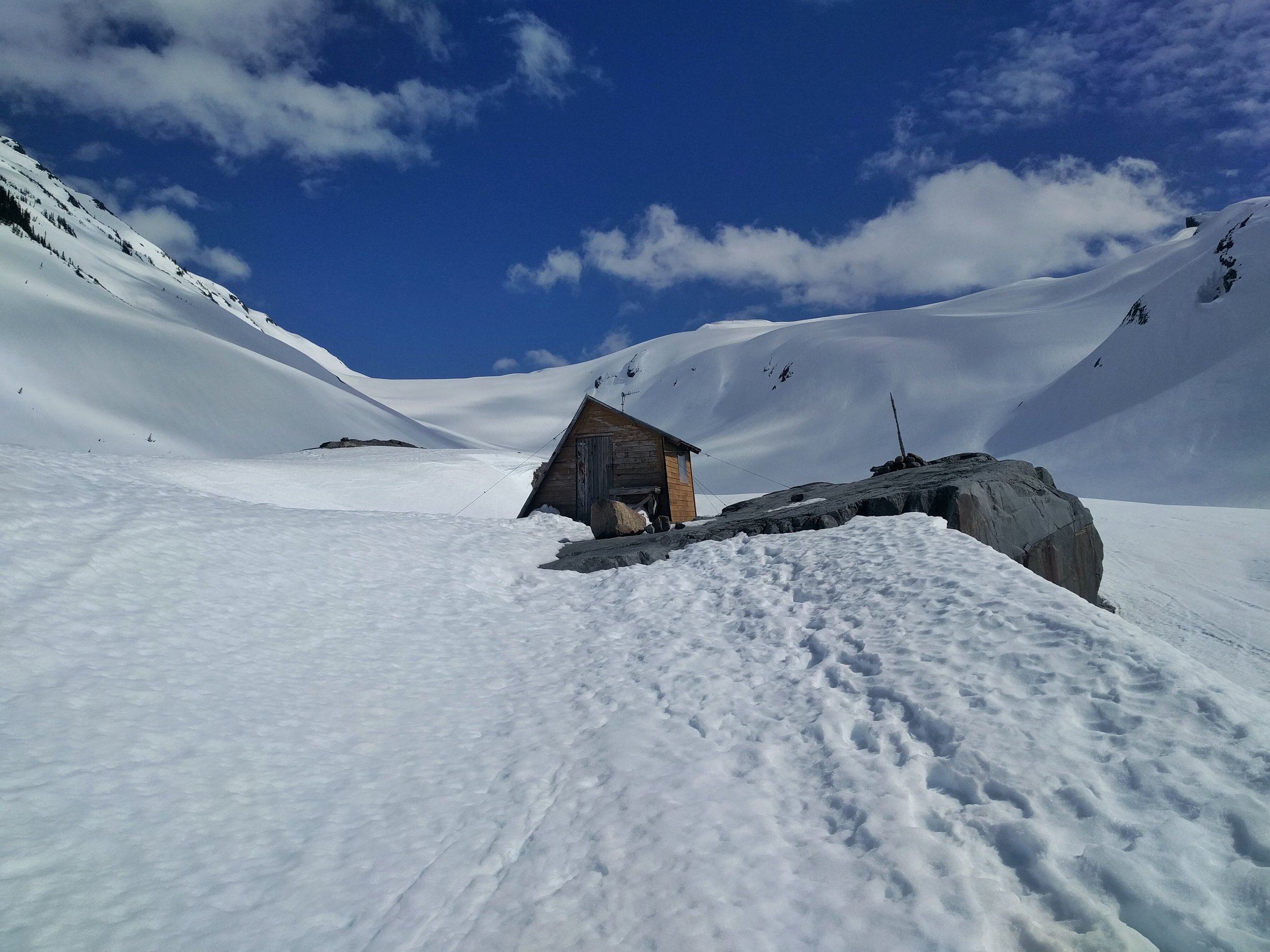 One of the two old UBC Glaciology huts. Cute, but mouse infested.