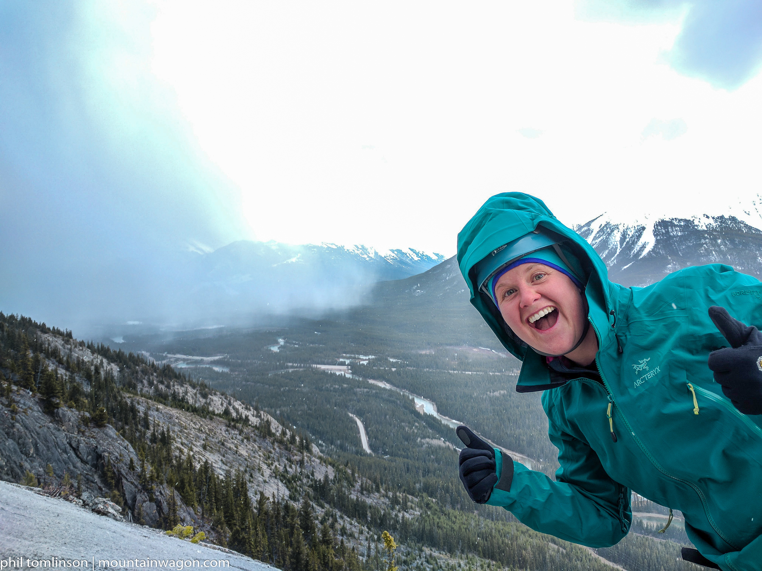 Bode, stoked about the snow squall that just rolled over us