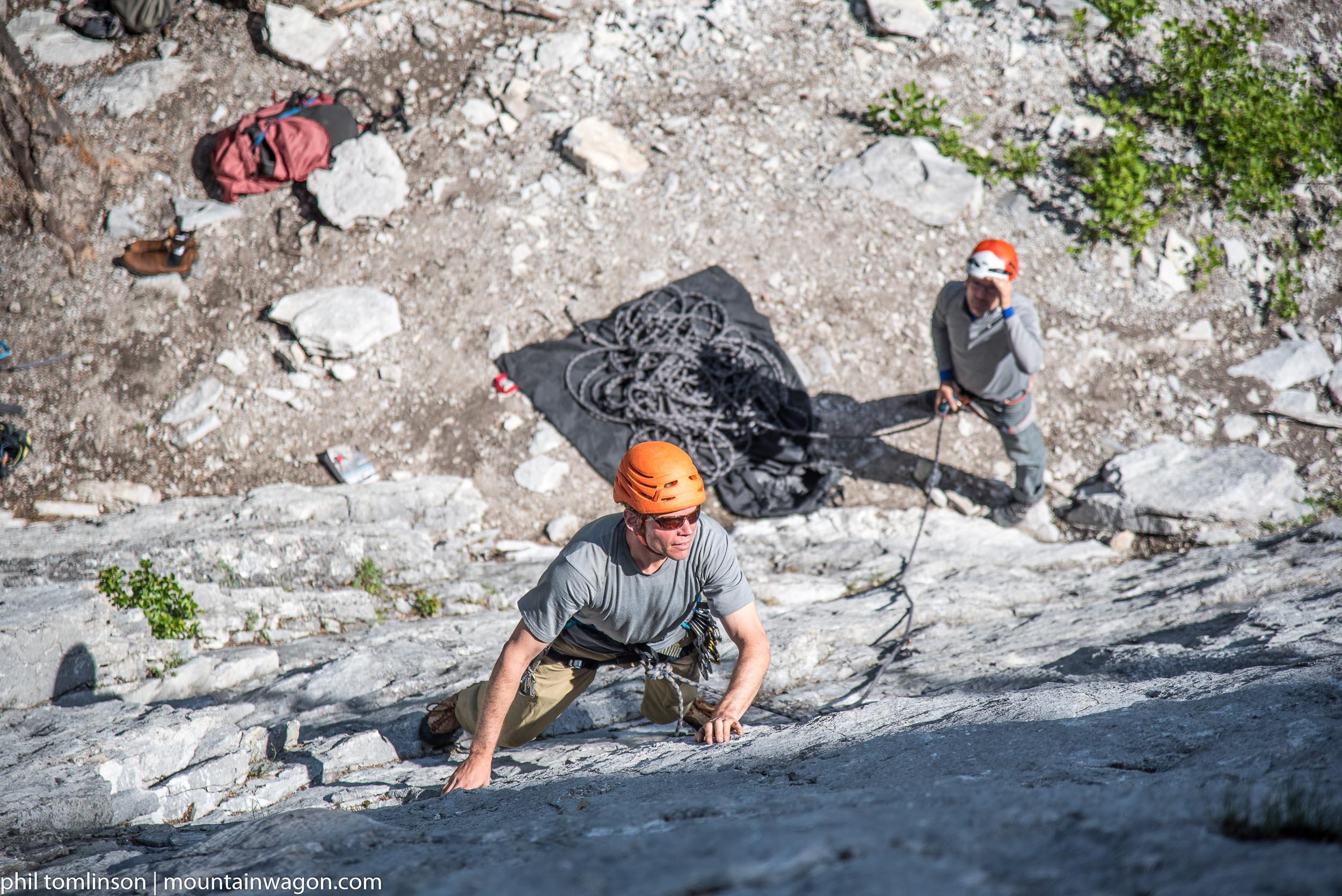 Paul headed into a 10c crux on Black Band Crag