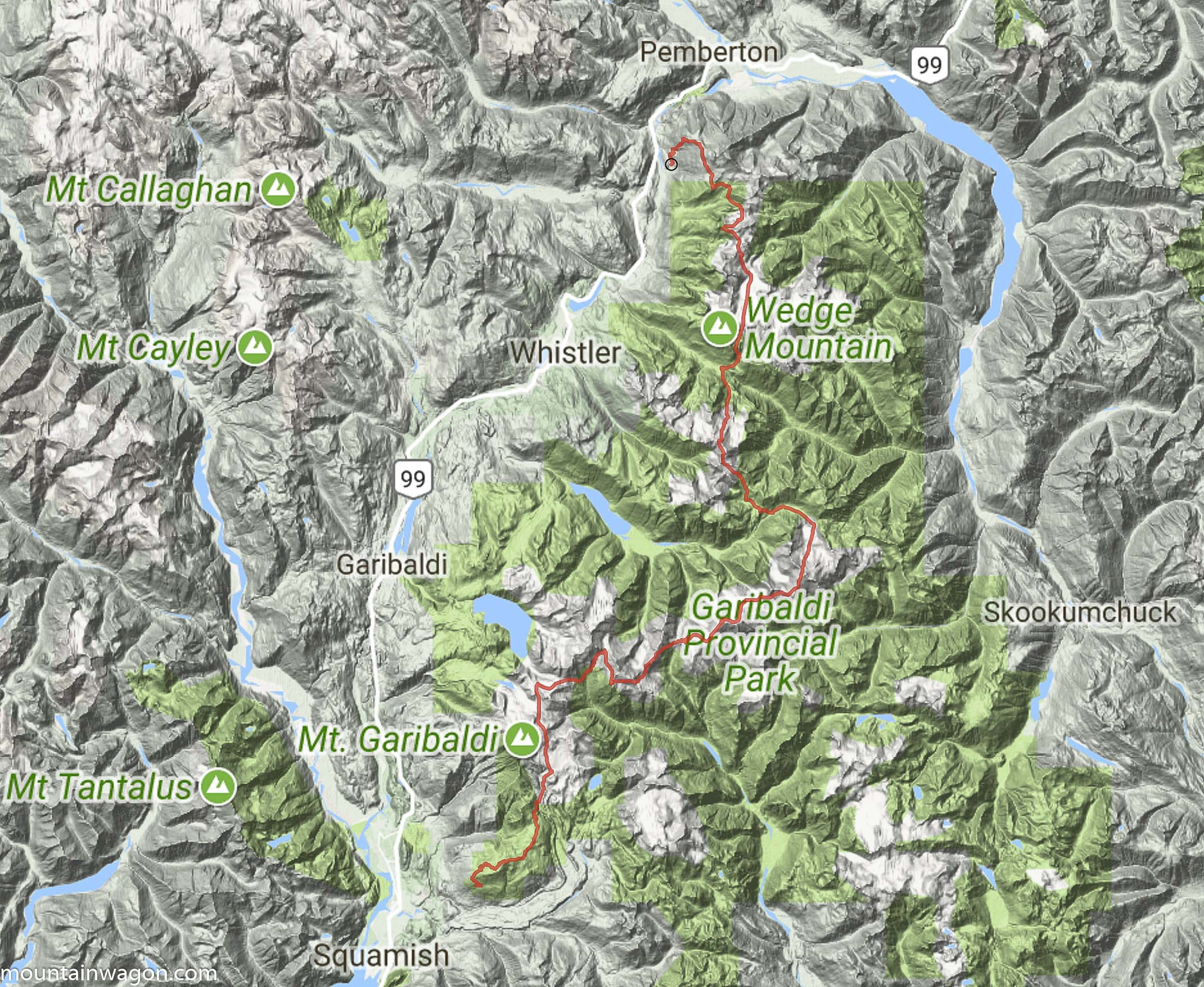 Veenstra's route took him through the heart of Garibaldi Park - basically going from Pemberton to Squamish via huge mountain ranges instead of the conveniently located Highway 99.