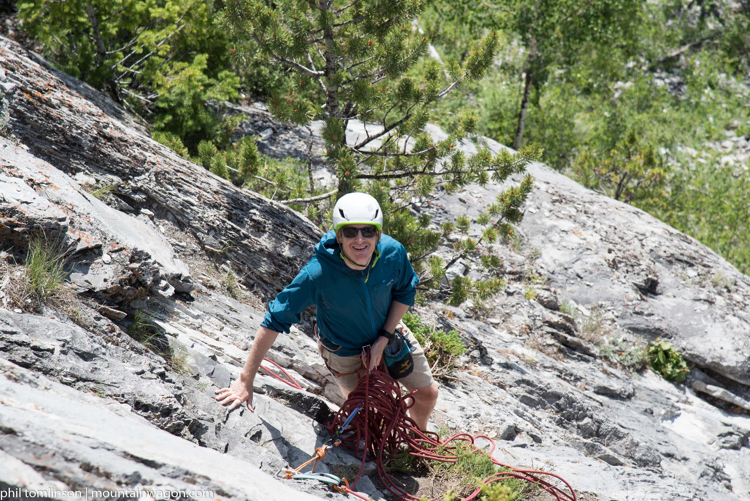 Cyril, happy, but less than comfortable at his belay stance