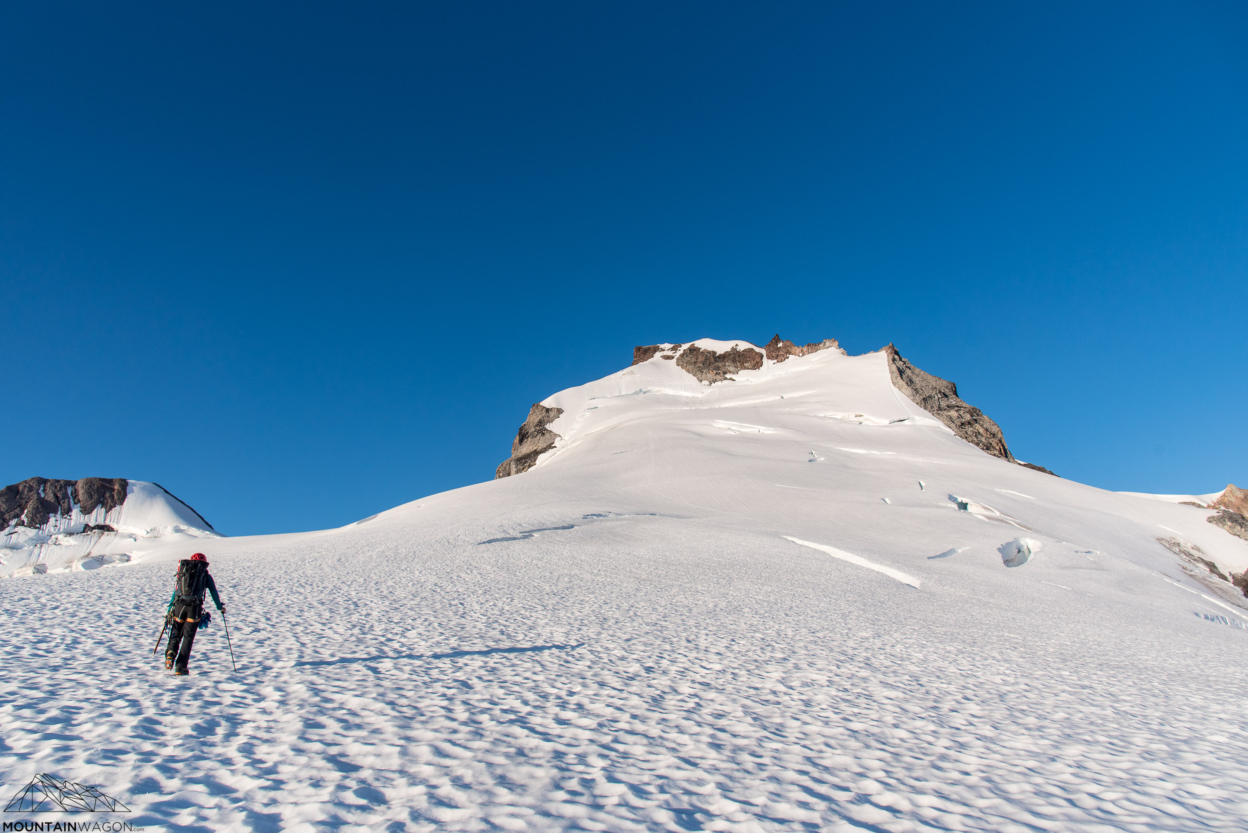 Approaching the crevasse field.
