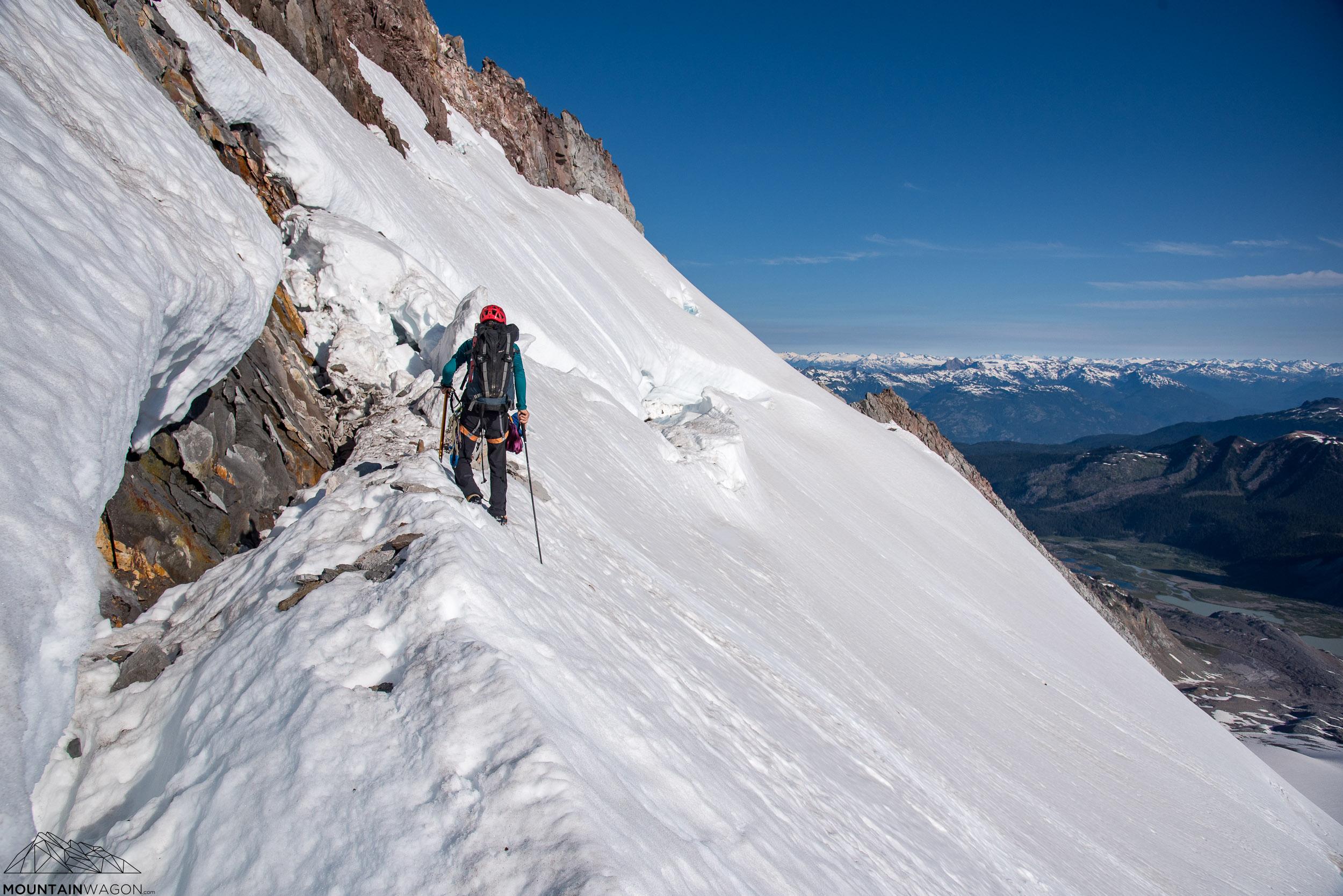 Skirting across the bottom lip of the bergschrund