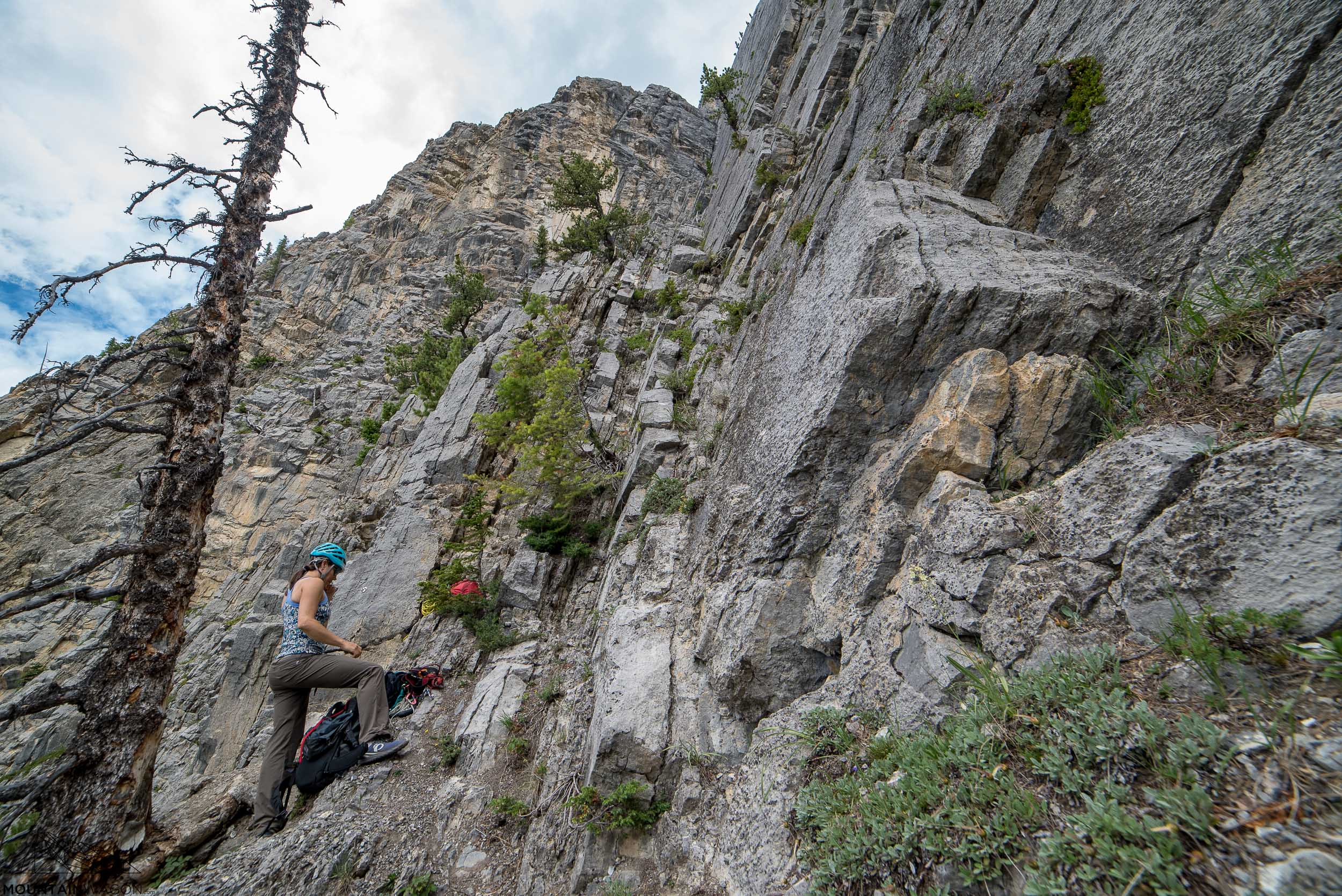 The bottom of the route can be identified by the dead tree and the belay bolt just behind Chrisitne