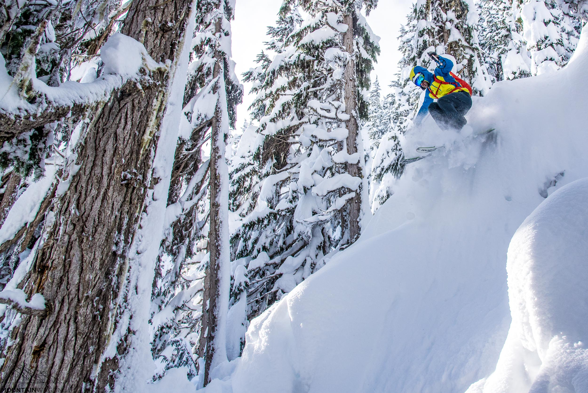Can't be on both sides of the lens - Skyler models the Westcomb Vapor while shredding Rogers Pass