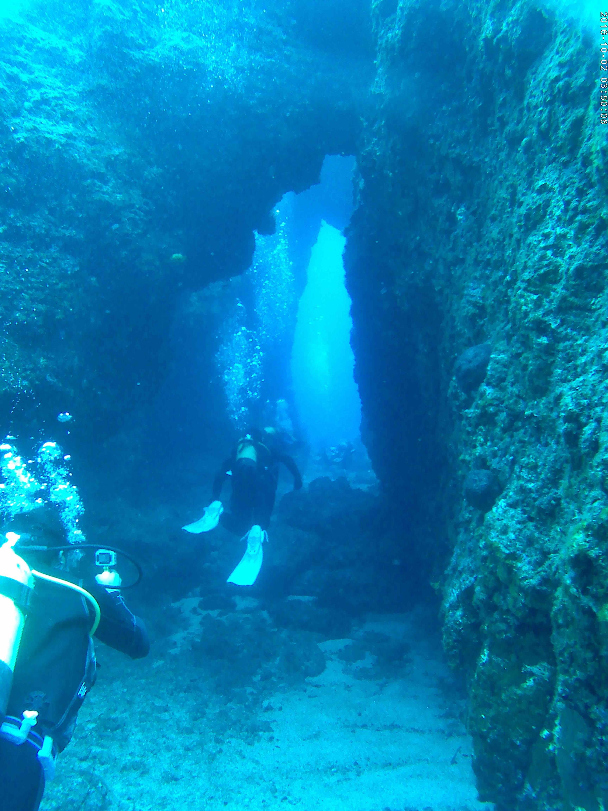 Swim throughs near Paros, Greece. Photo: S. Middleton