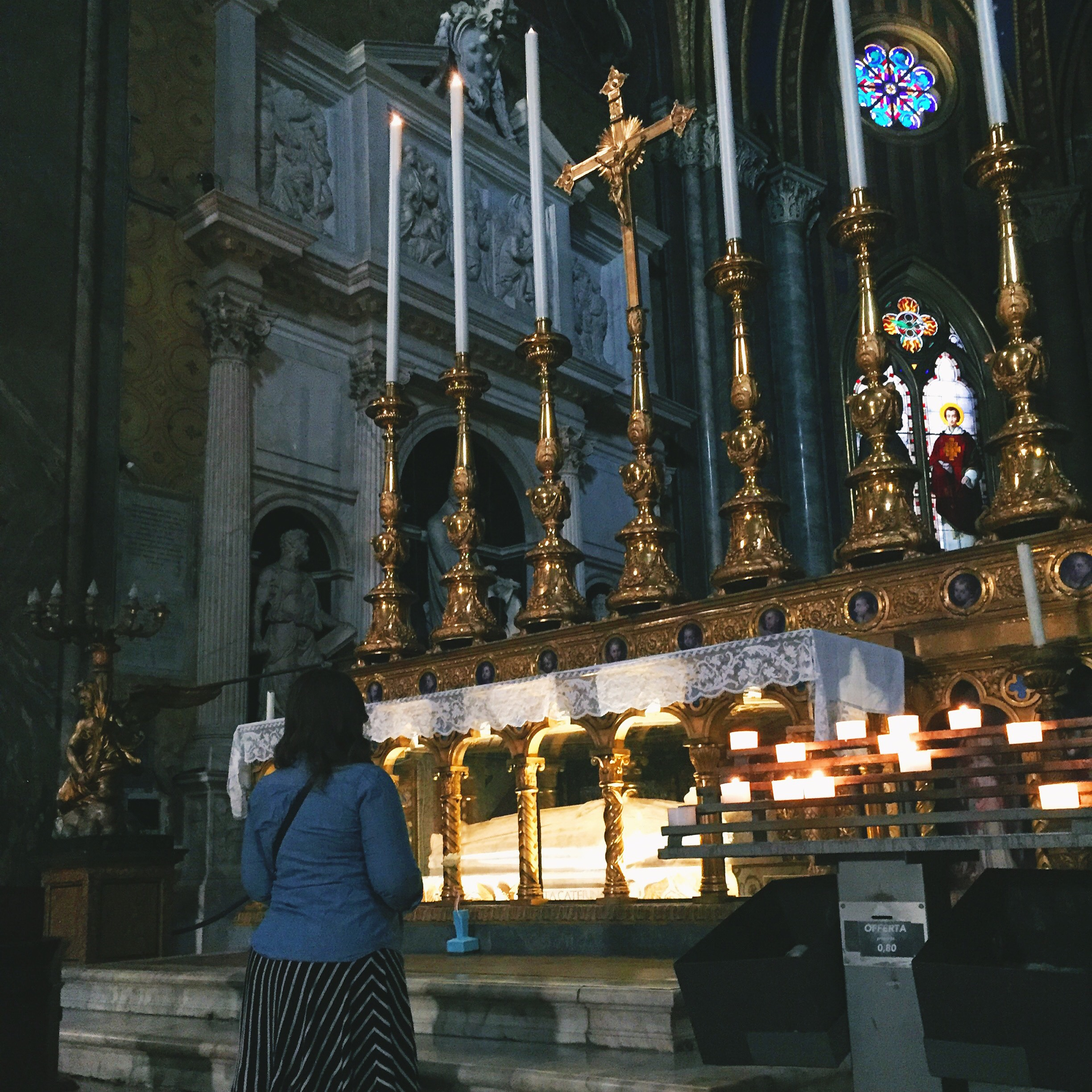 While Lindsay and Bekah were in Rome for St. Teresa of Calcutta's canonization, they were able to visit different churches.  Here is Bekah (from the snapchat) in Santa Maria sopra Minerva at St. Catherine's Tomb.
