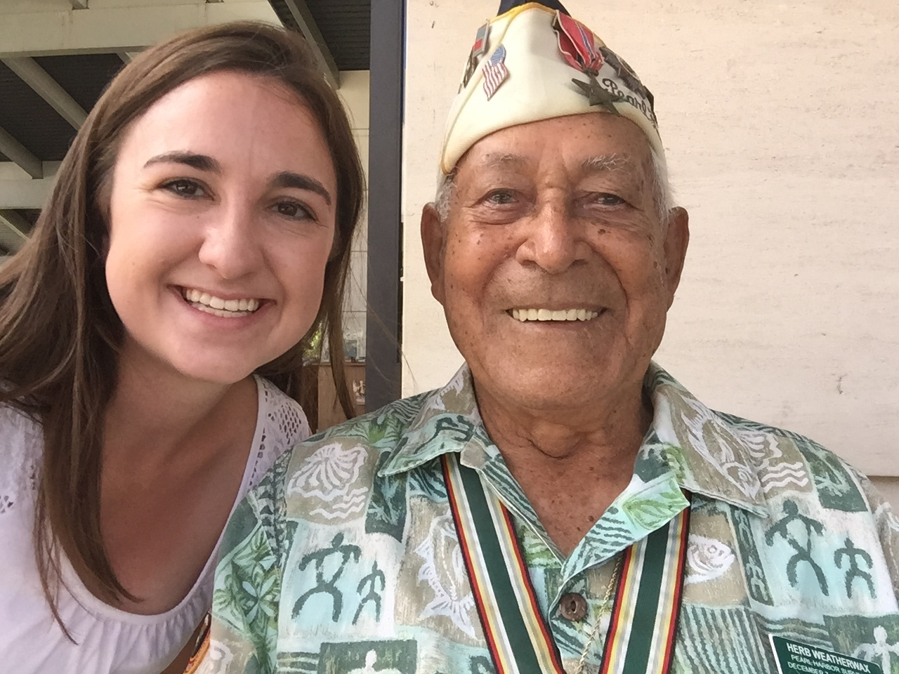 "Jenna with ""Uncle"" Herb, a Survivor of Pearl Harbor who went on to serve in WWII on the battlefields in Europe, who she met in Hawaii at the Pearl Harbor Memorial."