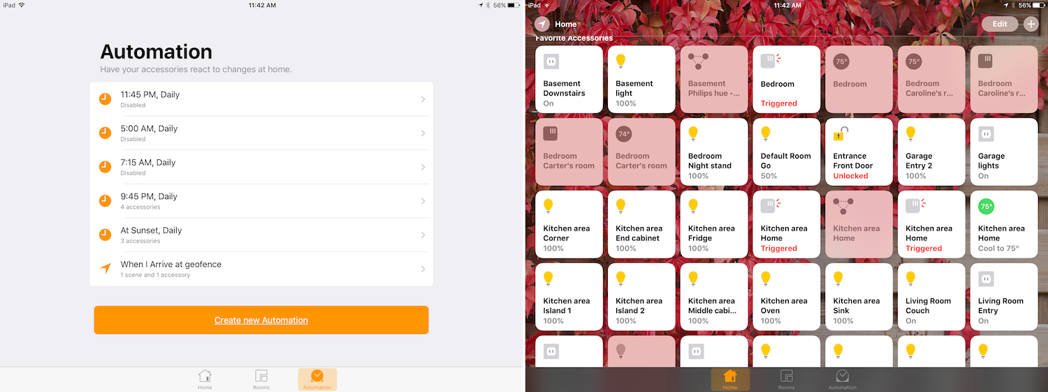 Automation and Home screens in the Home app