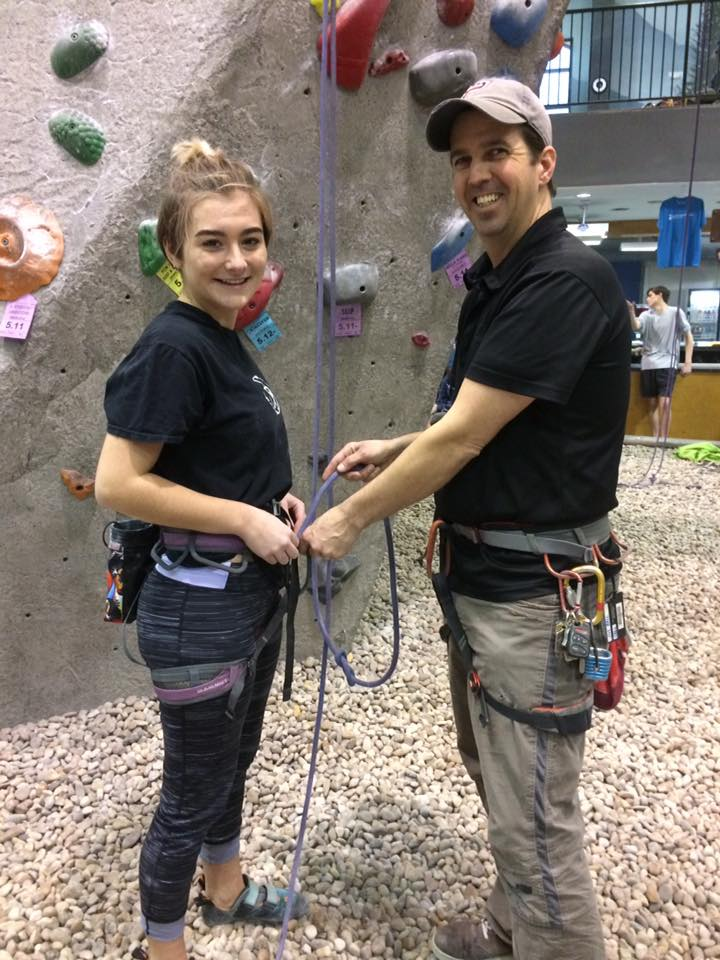 Jim Bell and that same climber 2017. A lot has changed except her love for climbing.