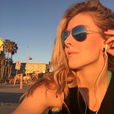 Me giving gratitude for the life I've created during my sunset run on Santa Monica Beach! Bliss!