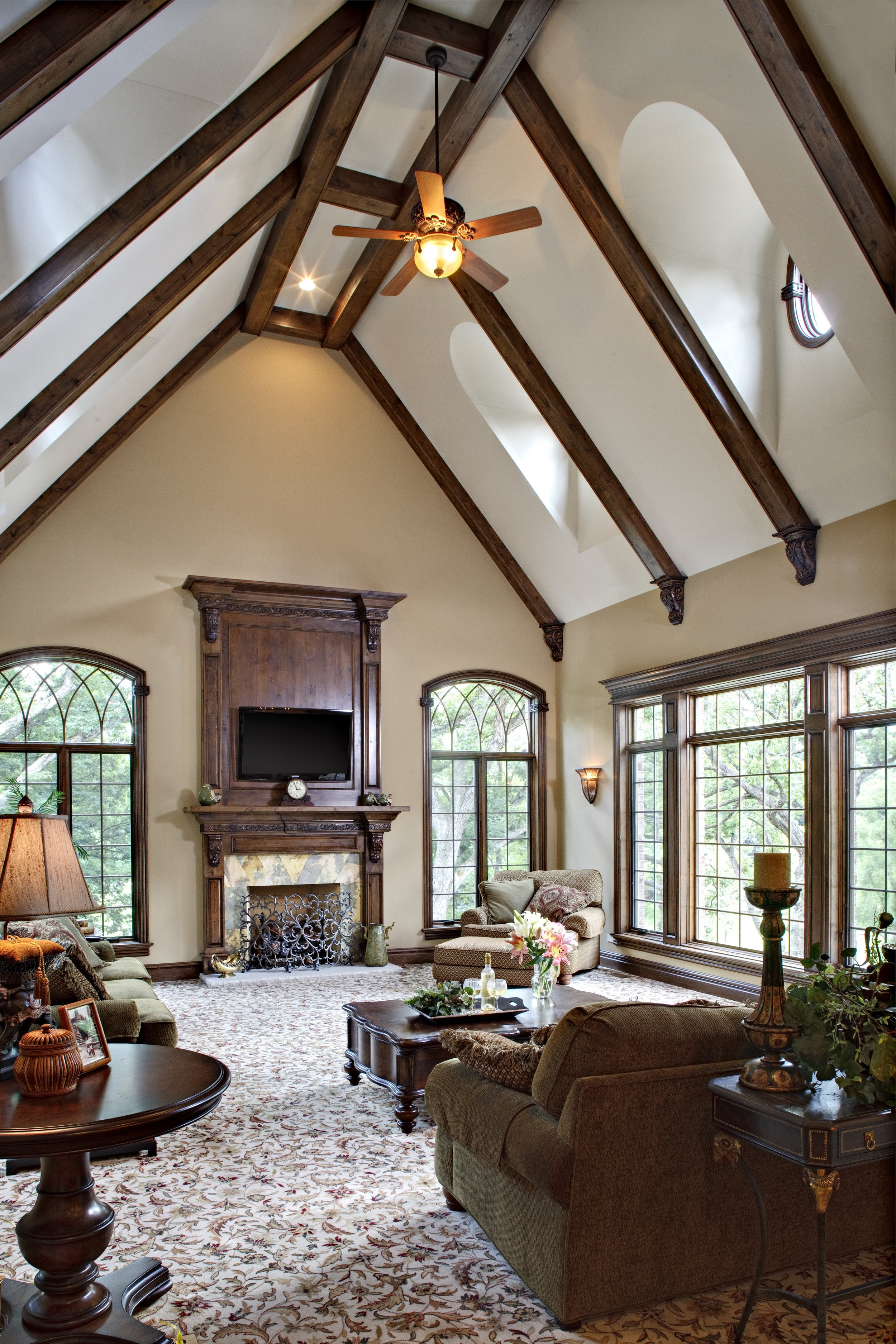 Hearth Room with Wooden Stained Beams in this Naperville IL Custom Home