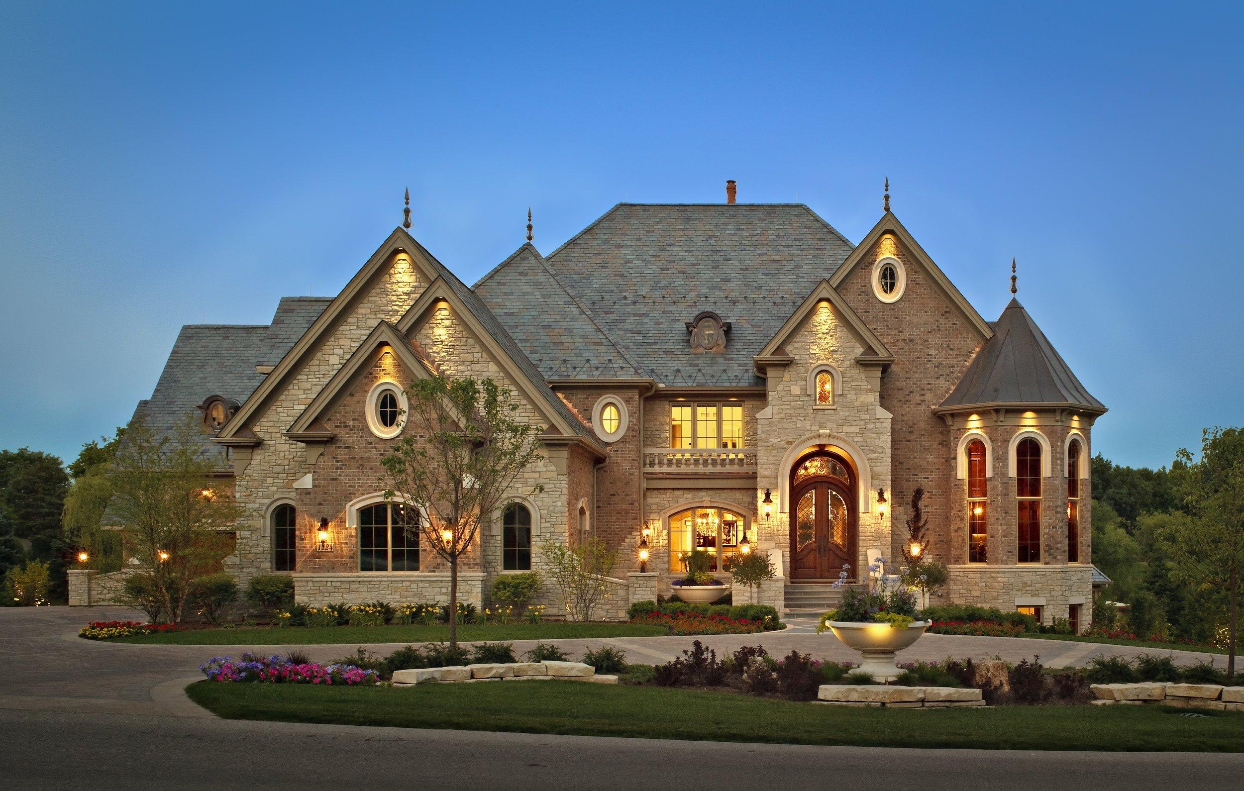 Custom Luxury Home in Geneva IL. 60134. Built by Southampton Builders LLC. Custom Turret & Limestone.