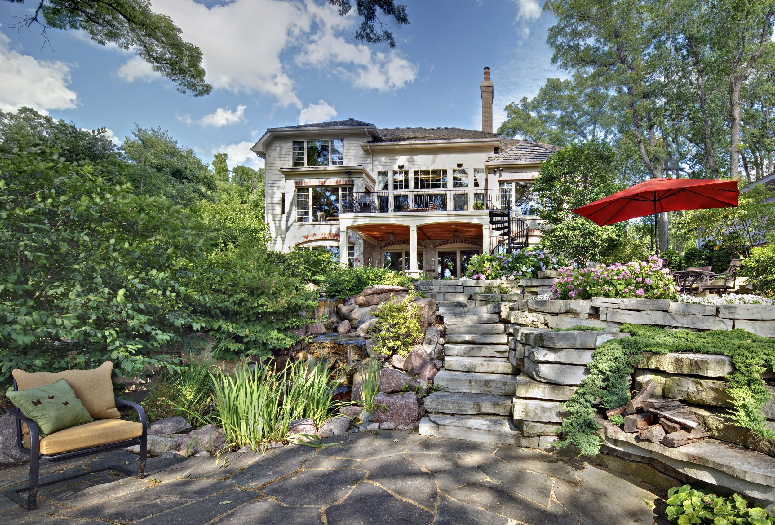 Custom Home by Southampton with River Views and Extensive Bluestone Landscaping with Multilevel Ponds