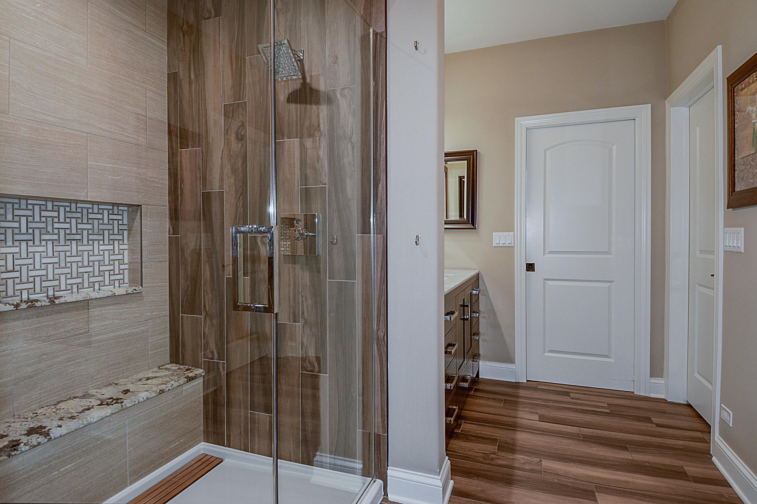 Bathroom Remodel in Geneva IL with Hardwood Tile in Shower