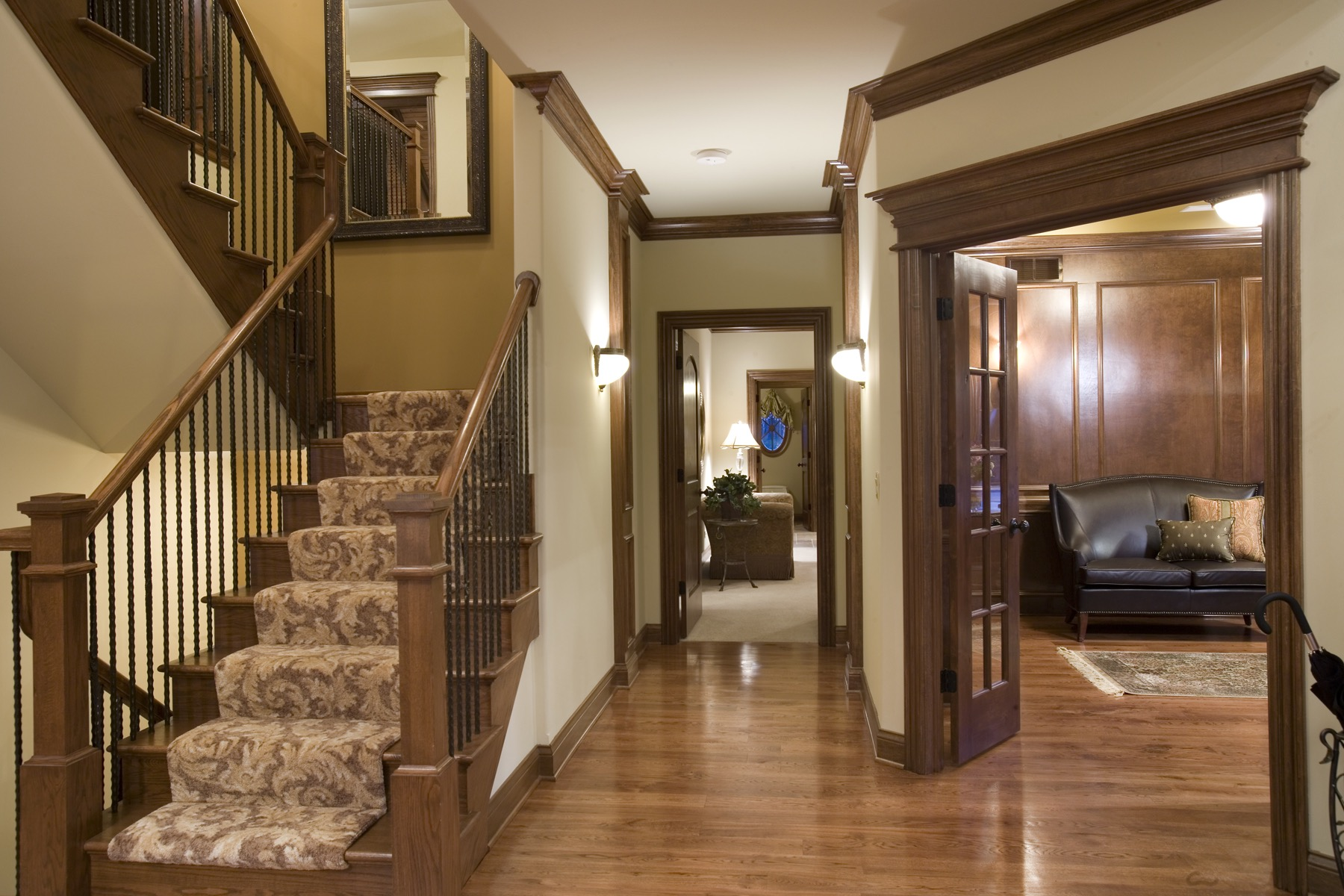 Custom Staircase with Square Newels in Geneva IL