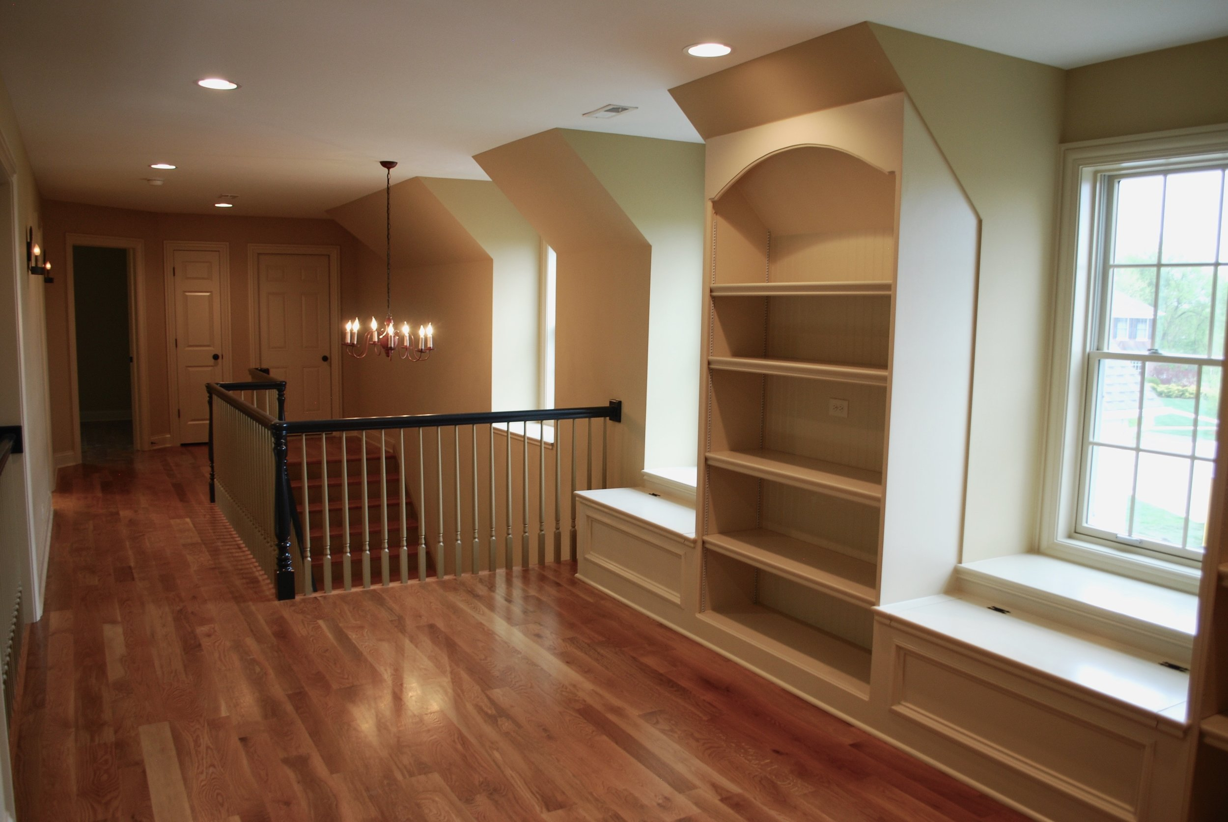 Built in Book Cases in this Custom Home Loft