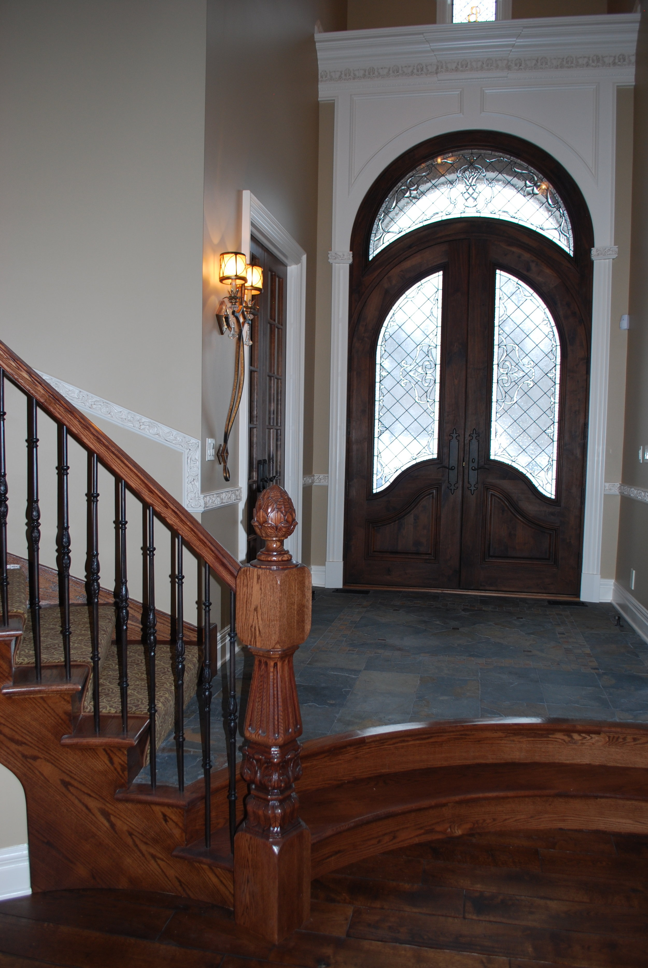 Curved Front Door with Stained Glass