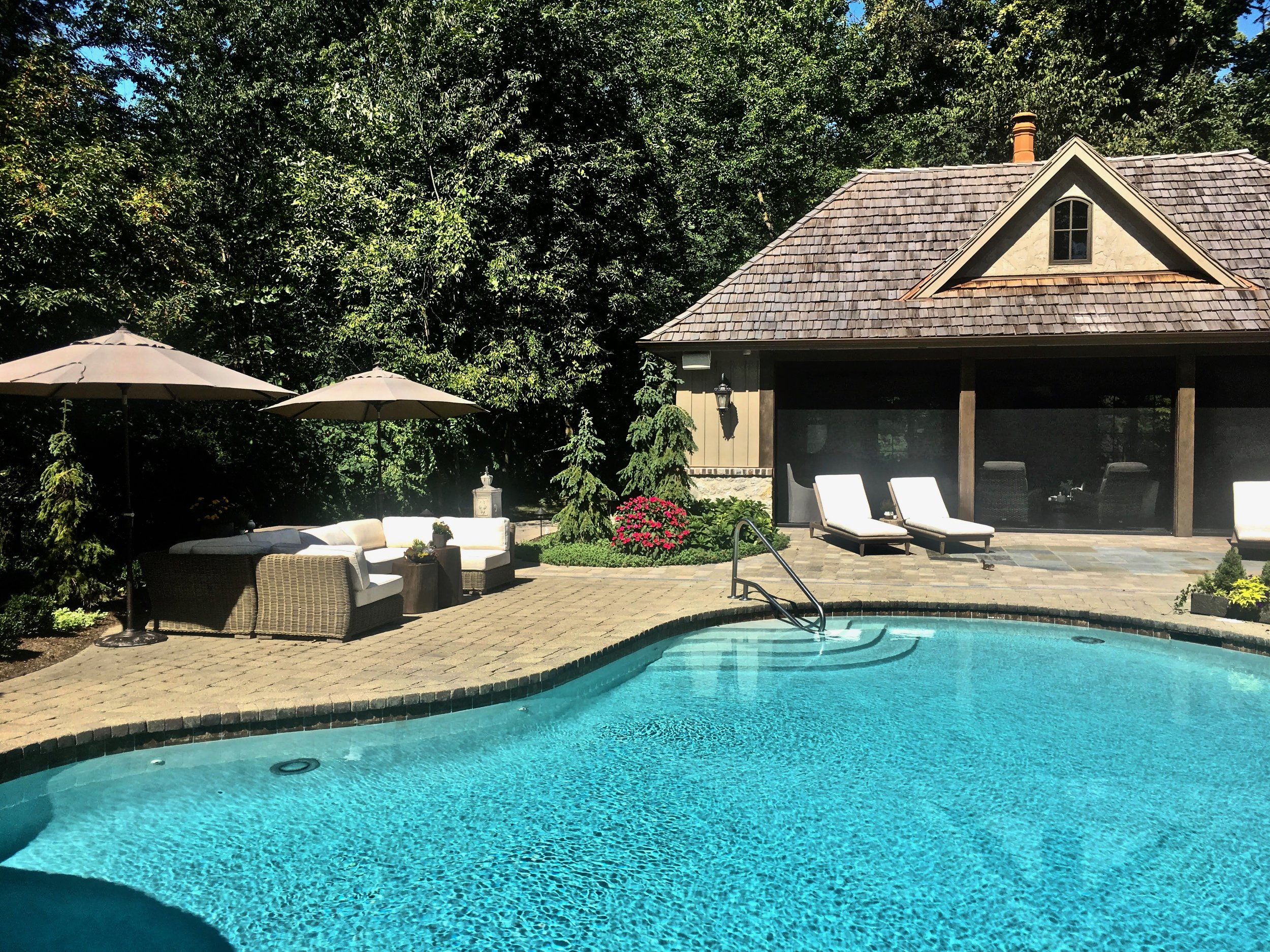 St. Charles IL. Custom Pool House With Retractable Screens
