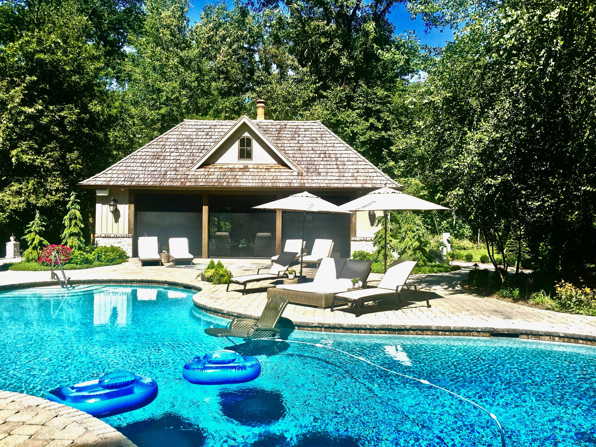 Custom Pool House to Match Main House, French Country Style Stucco Exterior