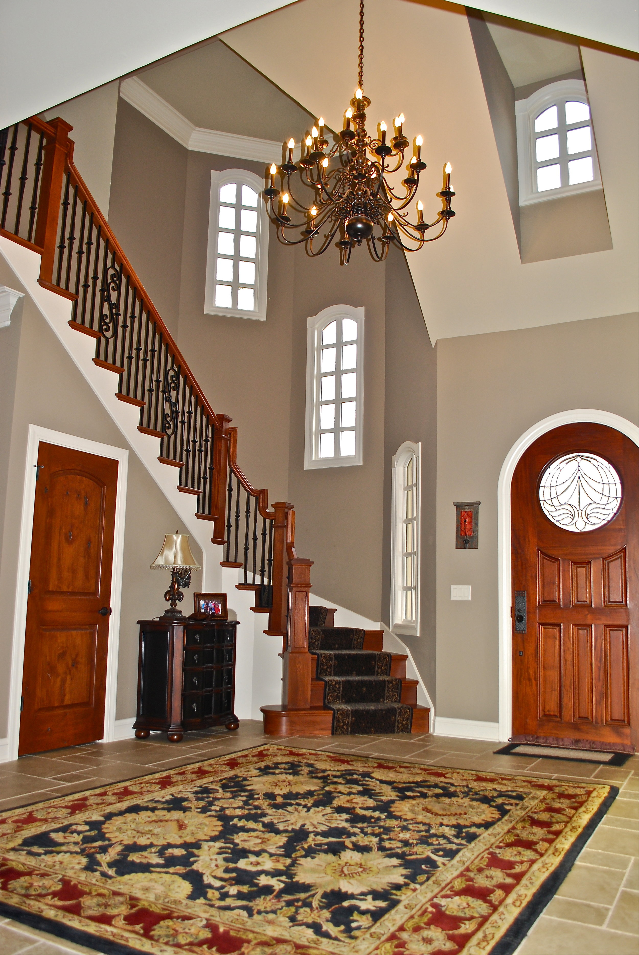 Stairs in Turret with Curved Front Door
