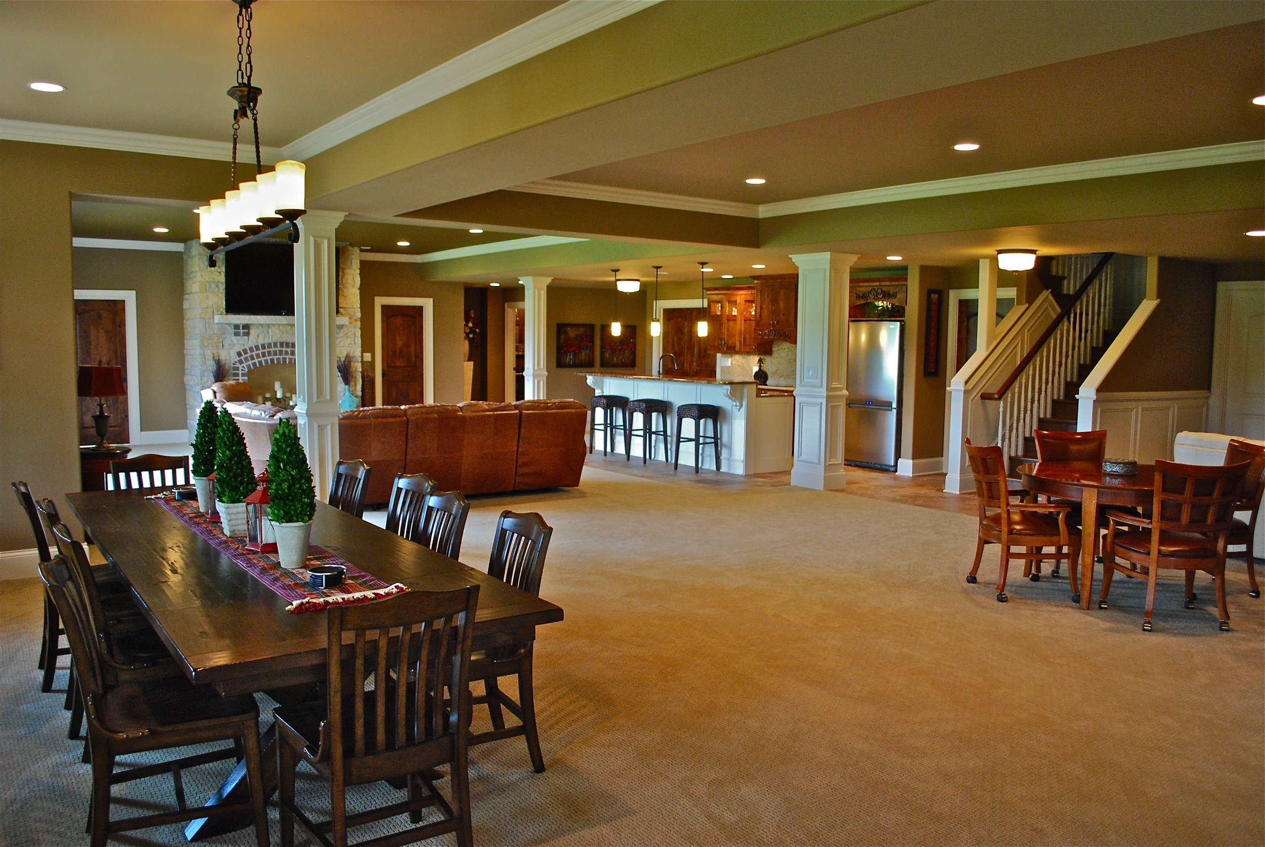 FINISHED WALK OUT BASEMENT WITH FIREPLACE, BAR, FAMILY ROOM & THEATER ROOM IN ST. CHARLES IL