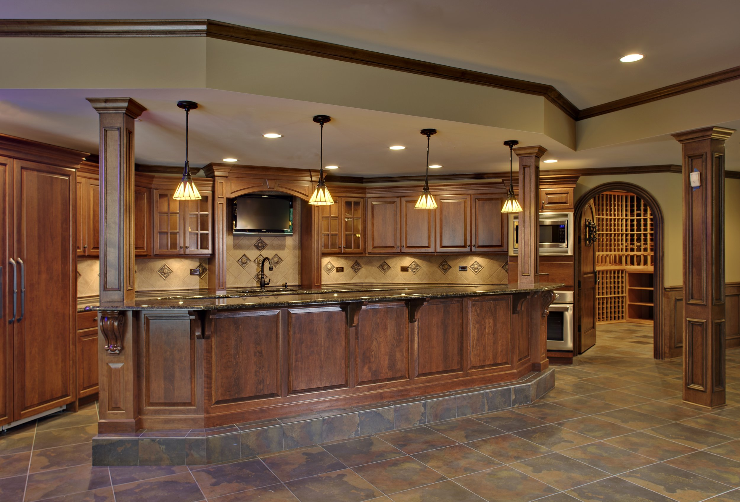 HI END FINISHED BASEMENT WITH WINE CELLER (WITH CURVED DOOR) & CUSTOM FULL KITCHEN BAR IN OAK BROOK IL.