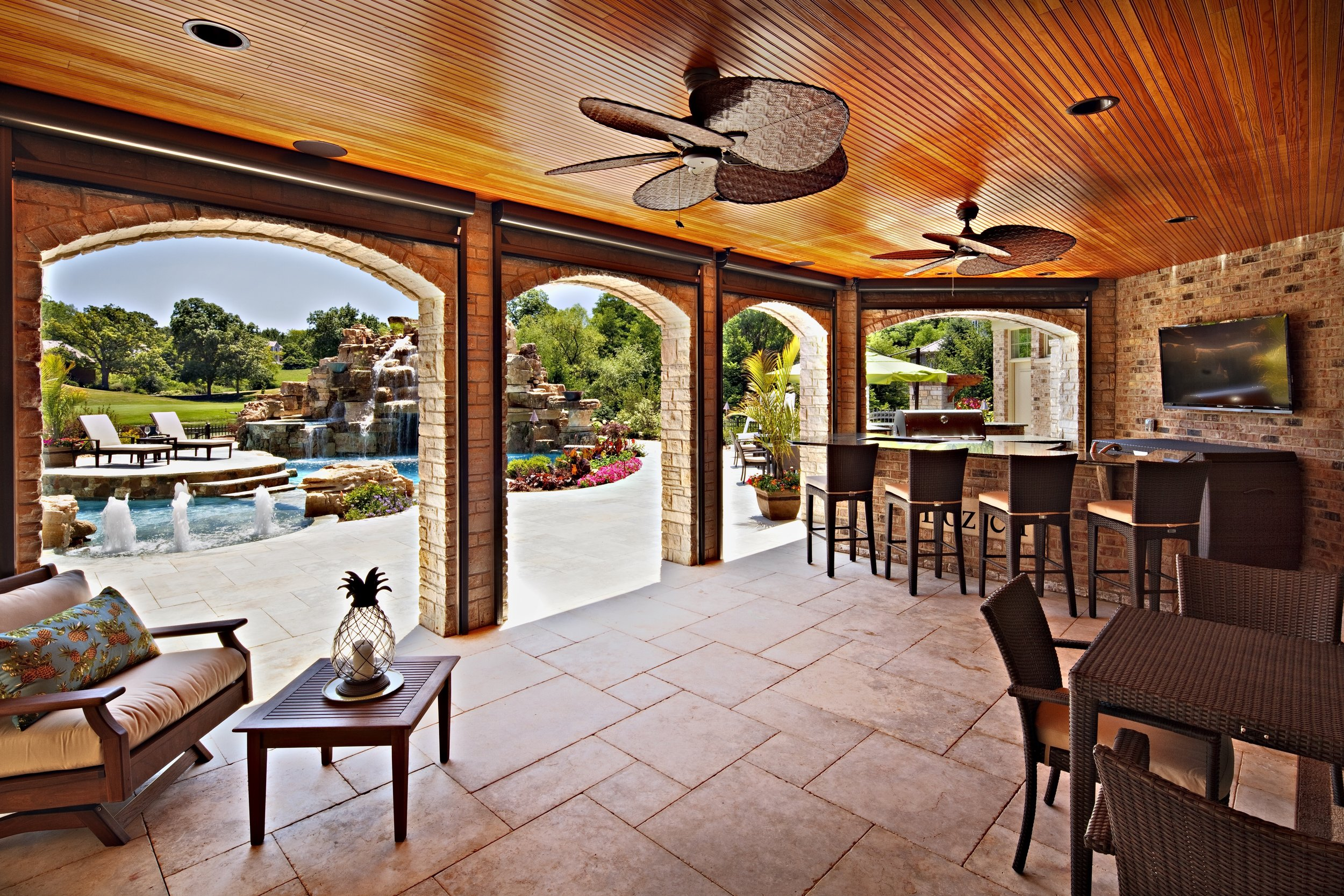 LUXURY WALK OUT BASEMENT WITH FULL OUTDOOR KITCHEN AND CUSTOM POOL IN OAK BROOK ILLINOIS BY SOUTHAMPTON
