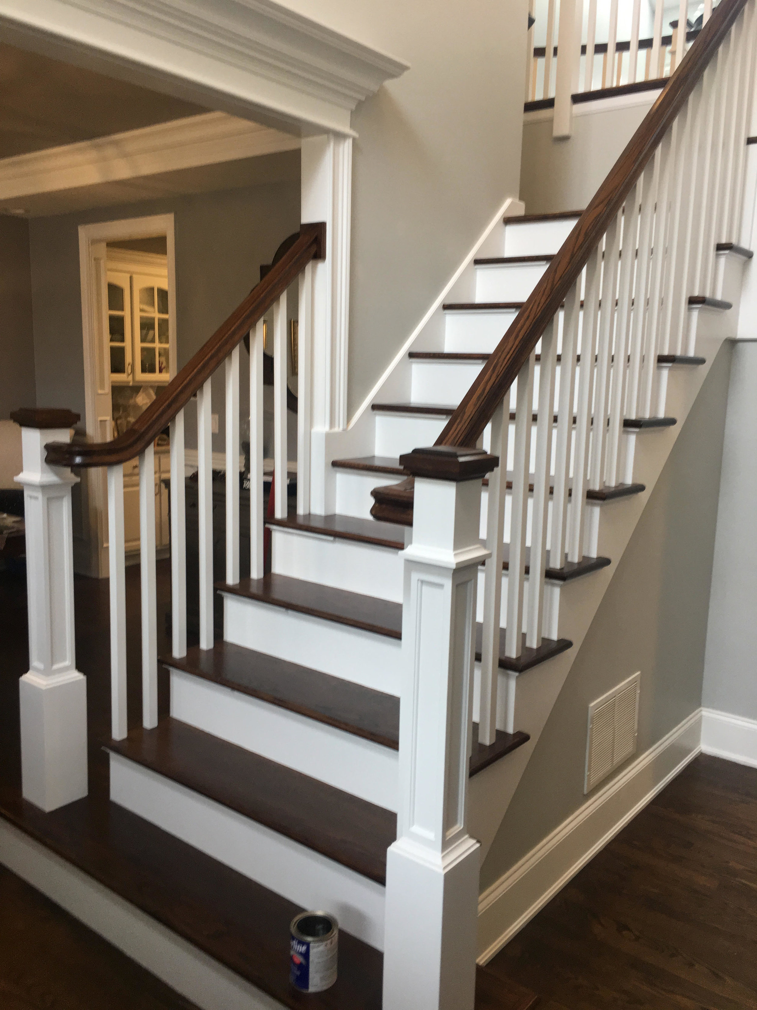 Glen Ellyn Custom Staircase Remodeling by Southampton Builders LLC. Foyer Staircase Remodeling & Updating