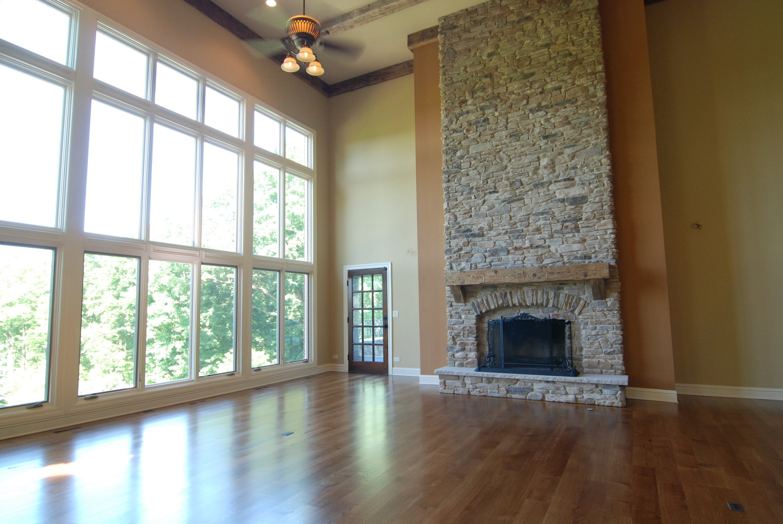 Geneva IL. Fireplace Remodel in Custom Two-story Family Room.