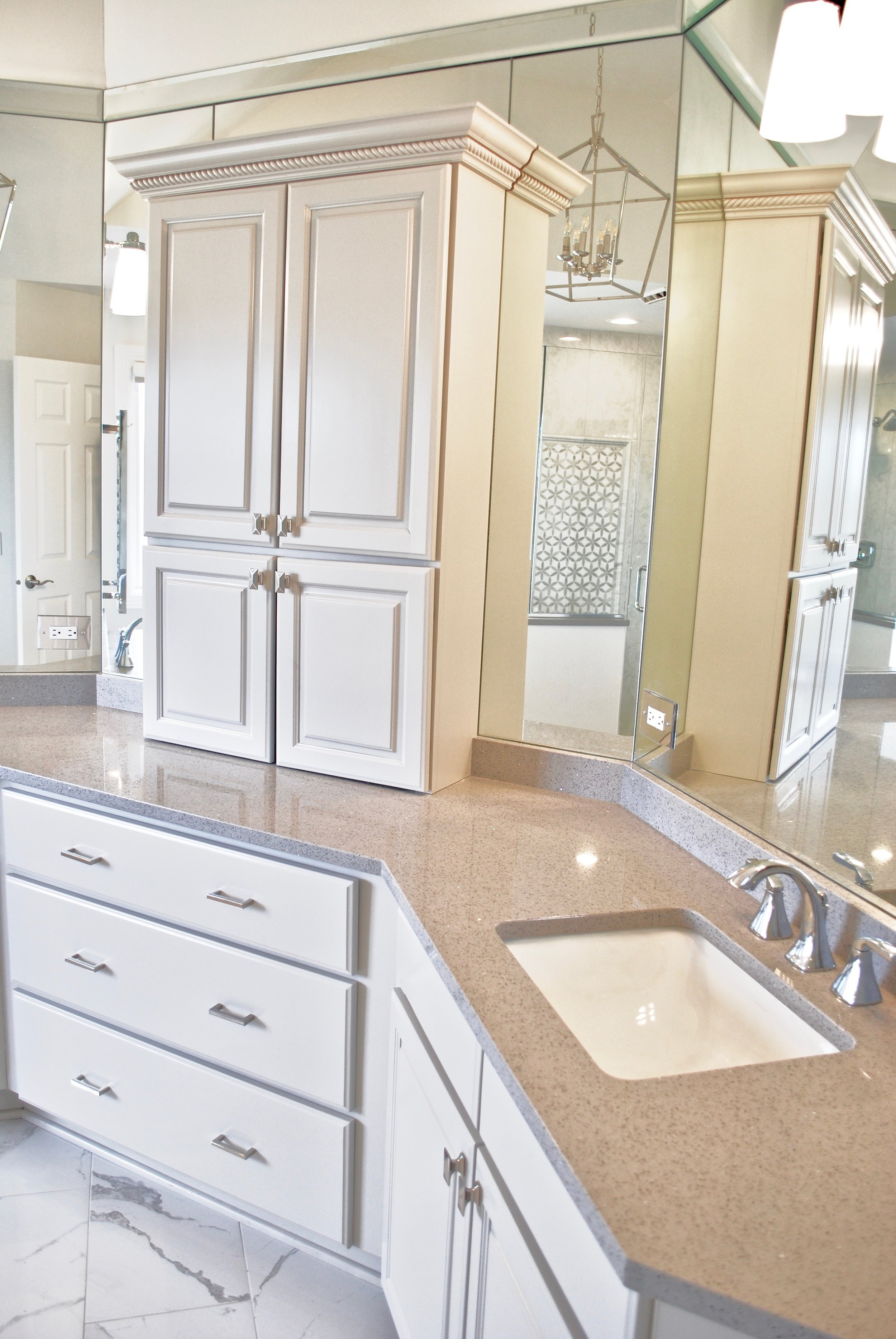 Cabinet Painting & Refinishing in Naperville IL. Looking to Paint Existing Cabinets or Remodel Your Bathroom to Replace Old Shower & Oversized Tub Deck. Located in Geneva IL.