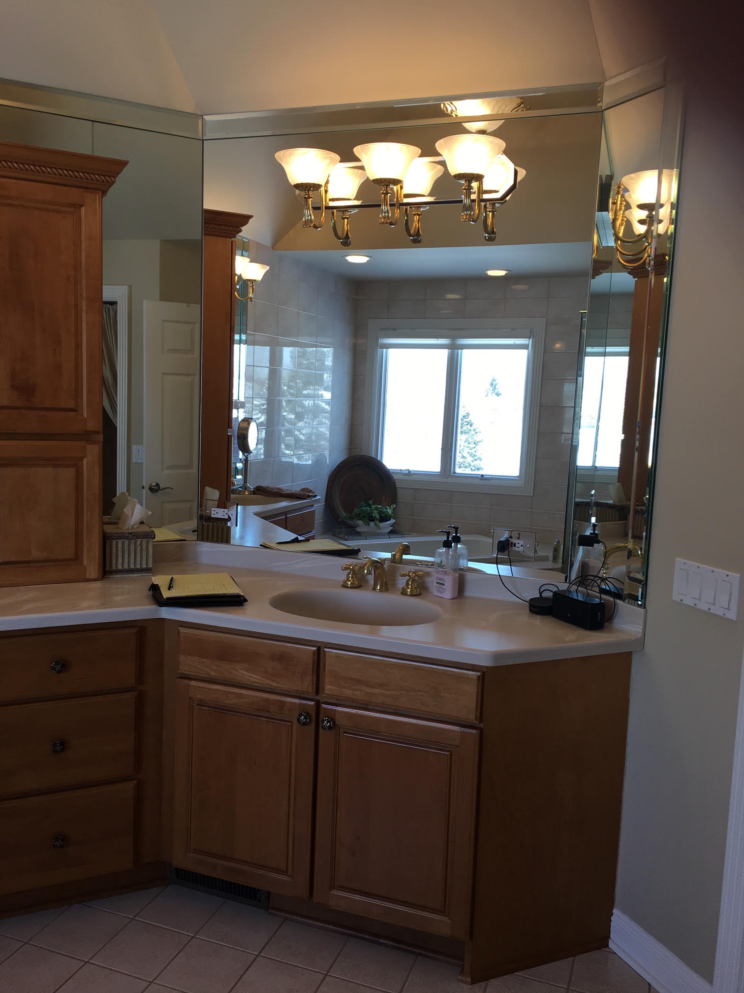 Before Photo of Naperville IL. Bathroom Remodel & Cabinet Painting. Replace Old Shower with New Marble and Oversized Tub Deck with Freestanding Tub. White & Grey Bathrooms. Renovations. Updating.