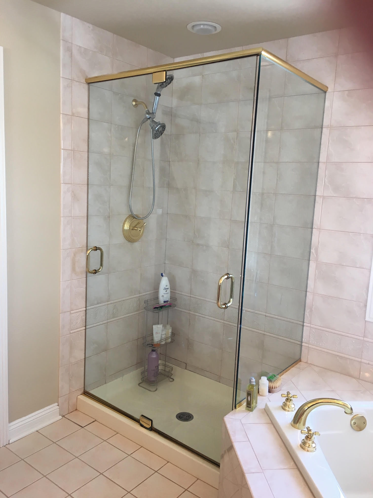 Before Photo of Outdated Shower & Brass Tub Plumbing Fixrtures Remodel with Grey Marble Shower & Freestanding Tub. Naperville IL Bathroom Remodeling & Updating. Located in Geneva IL