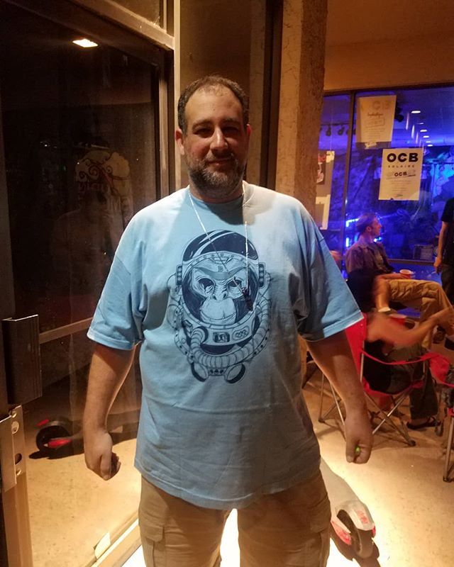 """Bougiefly baby blue signature """"space monkey tee"""" shout out to Rob owner of """"Up in Smoke"""" rocking Bougiefly at his sold out event support da real #Bougiefly #detroit #bougieflyapparel #phoenix #az #smokeshop #tempe #sacramento #california #newmexico #toledo #upinsmoke #cleveland #lasvegas"""