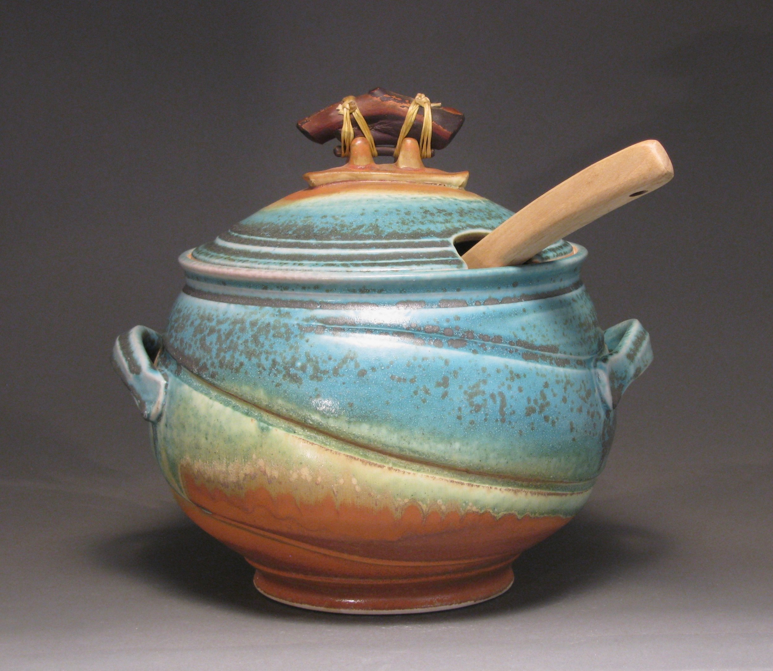 Soup tureen with matte turquoise and rust glazes