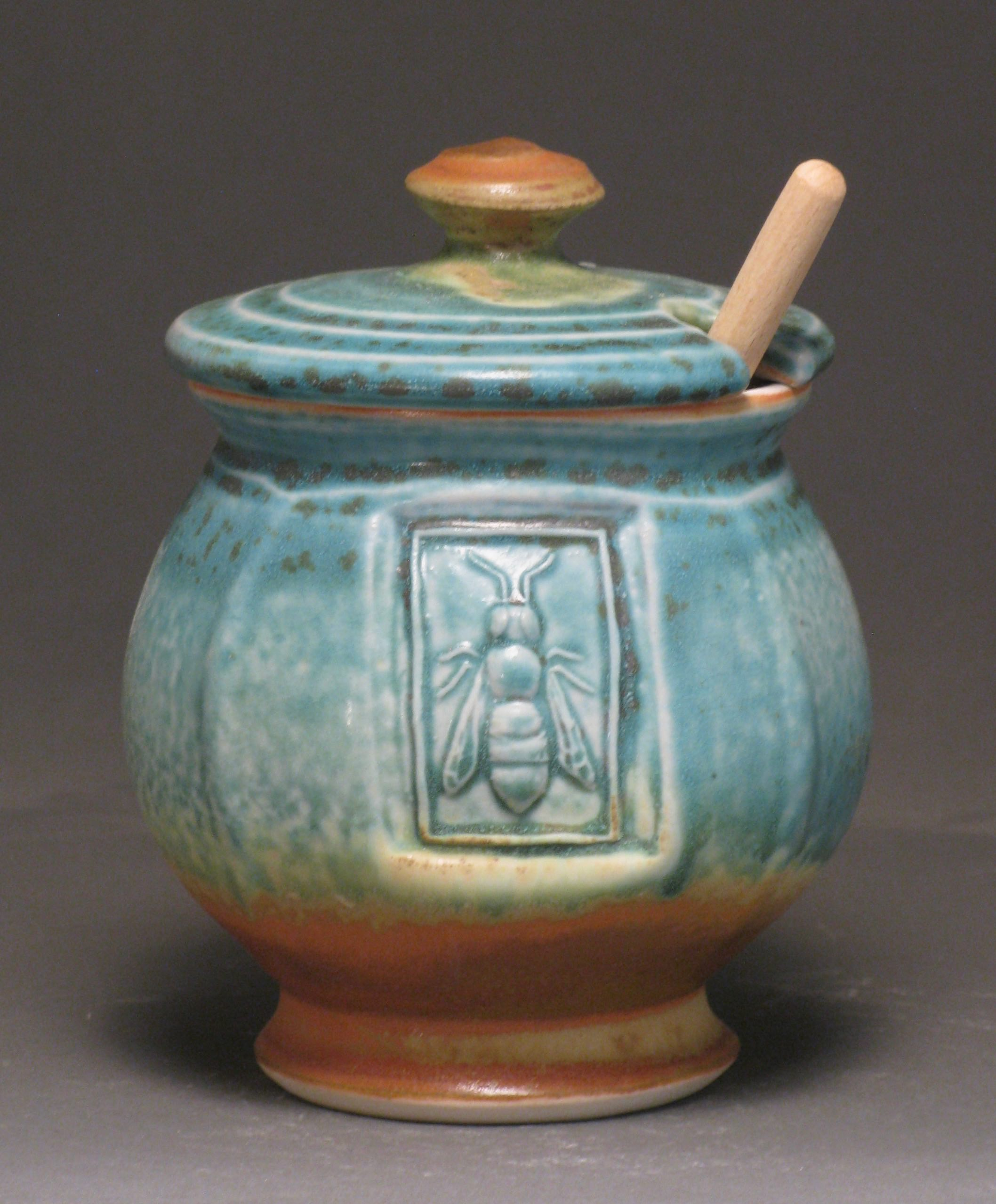 "Honey jar  5.5"" tall  Glazes: matte turquoise and matte rust"
