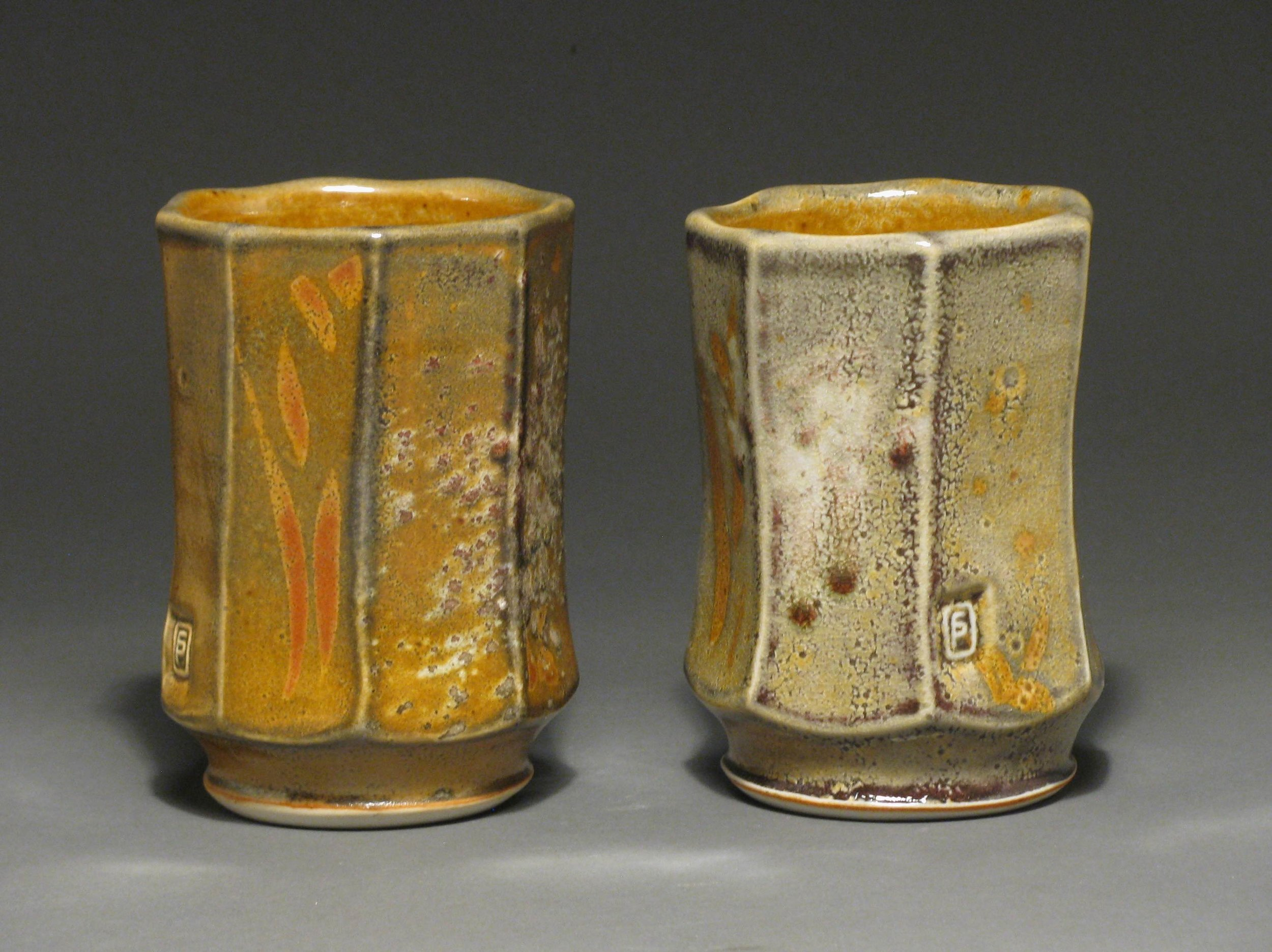 "Facetted tumblers  5"" tall  Glaze: Davis shino"