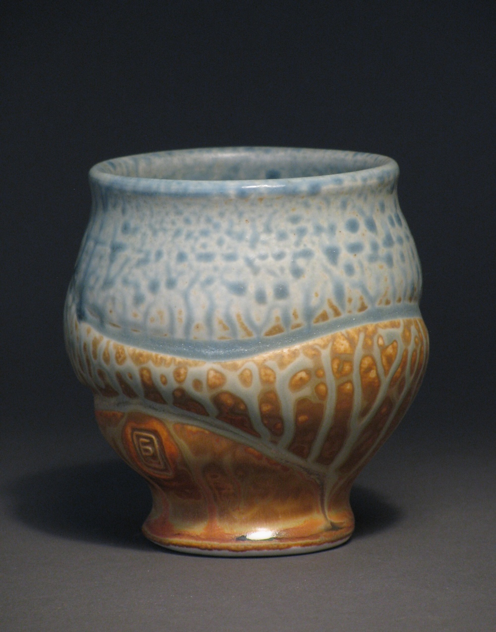 "Teacup  3.5"" tall  Glazes: blue ash and matte rust"