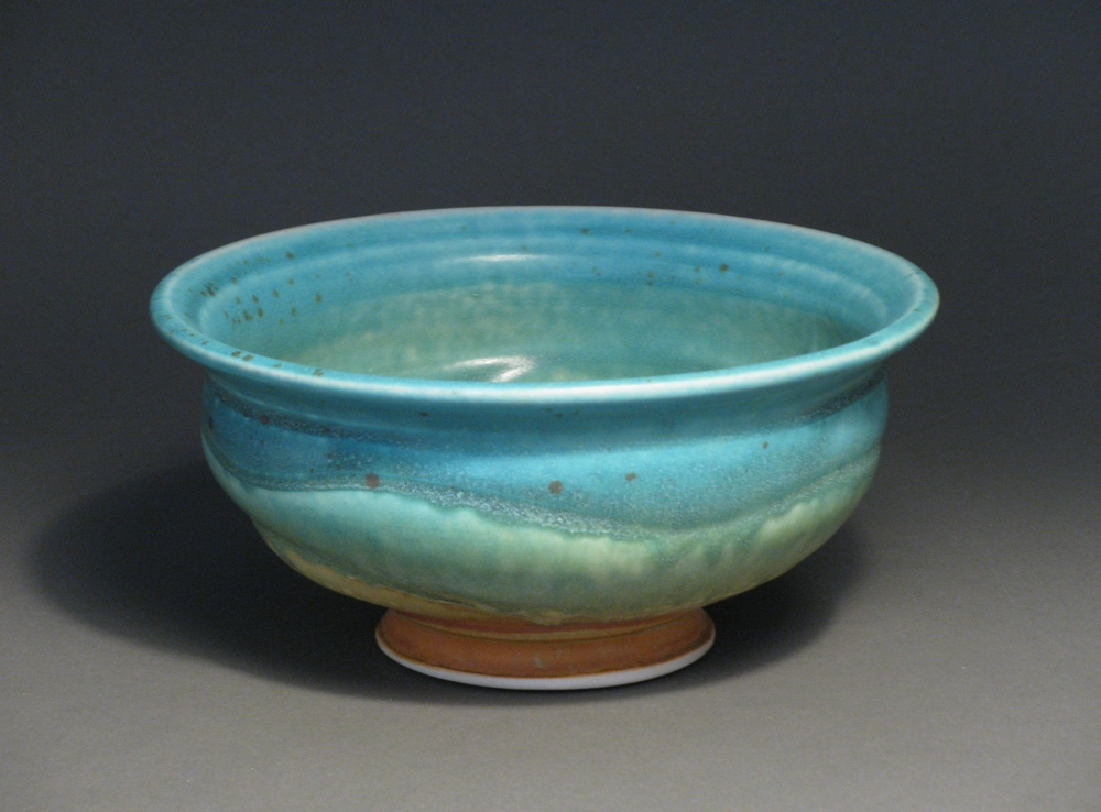 "Soup bowl  6.75"" diameter  Glazes: matte turquoise and matte rust"