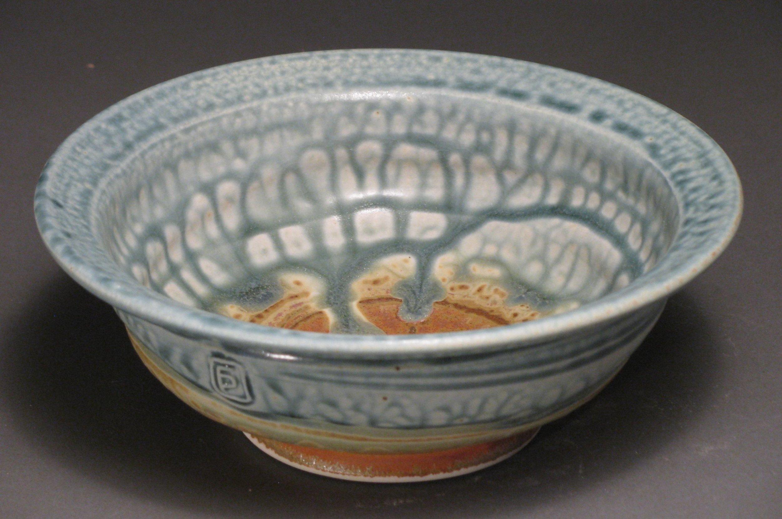 """Soup bowl  7.5"""" diameter  Glazes: blue ash and matte rust"""