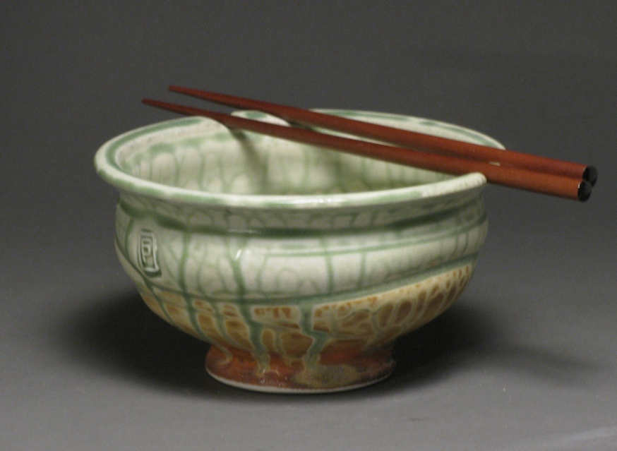 "Noodle bowl  6"" diameter  Glazes: green ash and matte rust"